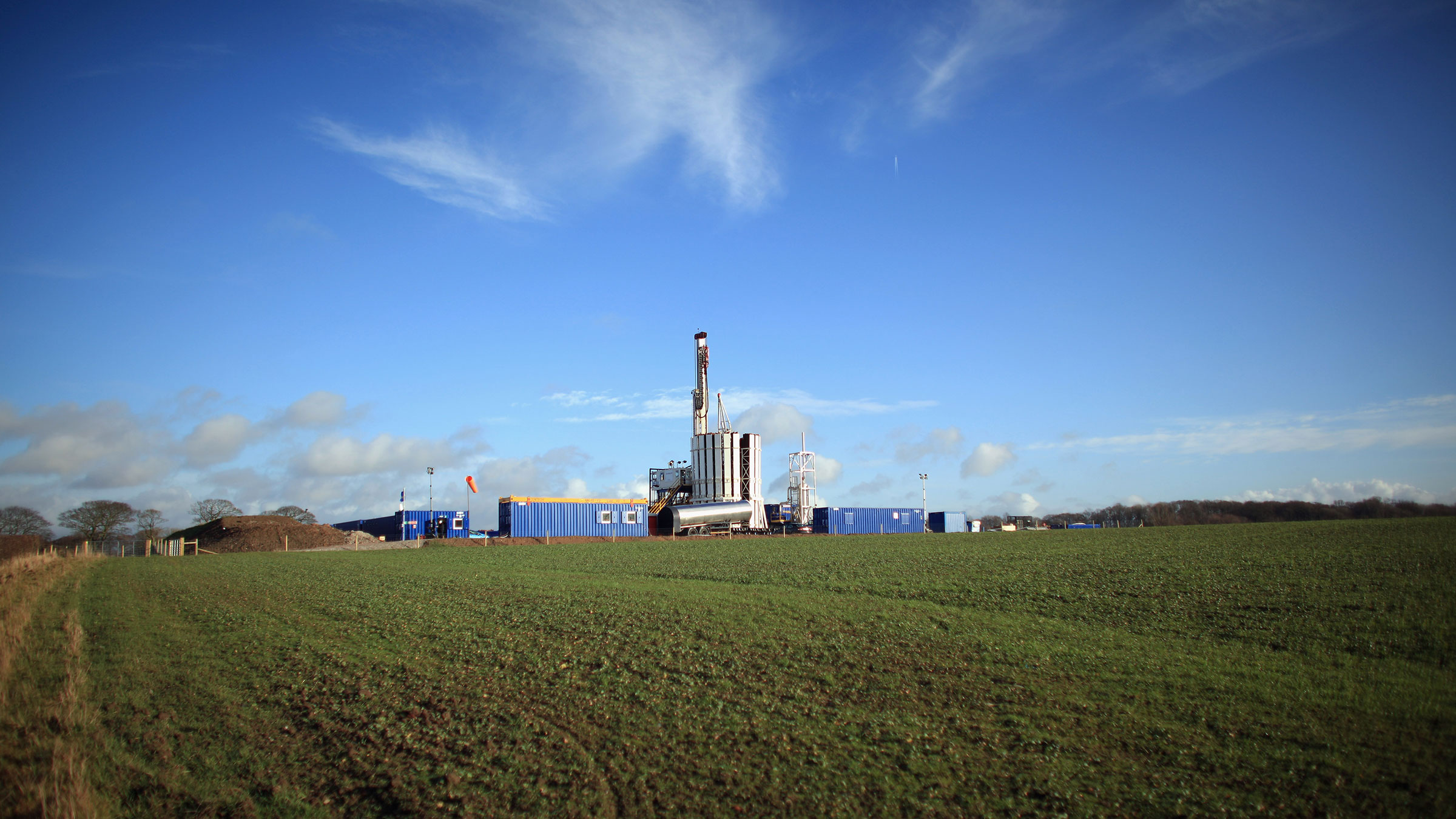 A drilling rig in Blackpool, England.
