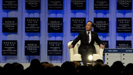 Wen Jiabao on stage at the World Economic Forum