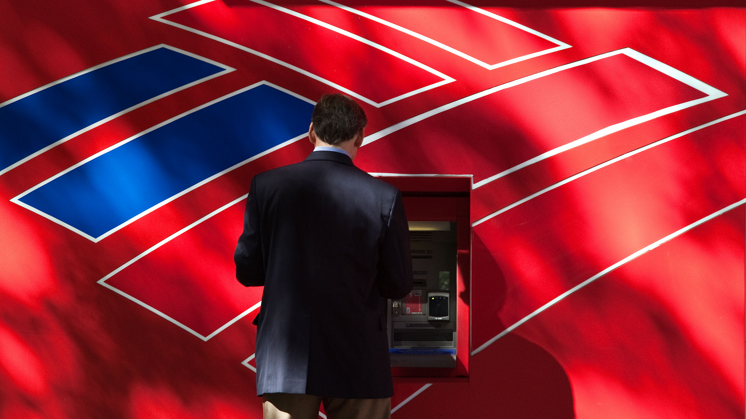 Bank of America logo and ATM.