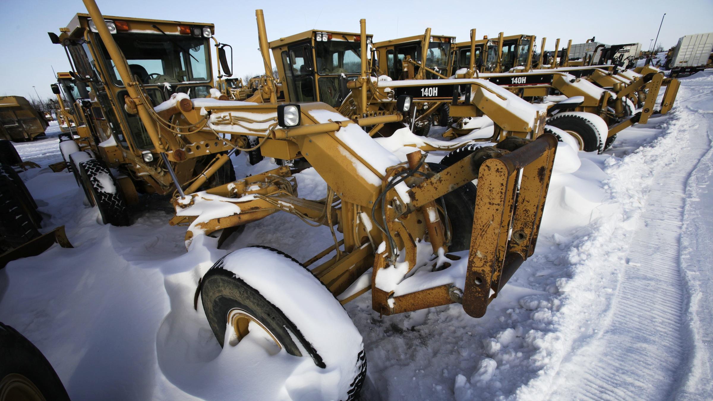 Caterpillar equipment is seen at the Ziegler CAT dealer, Tuesday, Jan. 26, 2010, in Altoona, Iowa. (AP Photo/Charlie Neibergall)