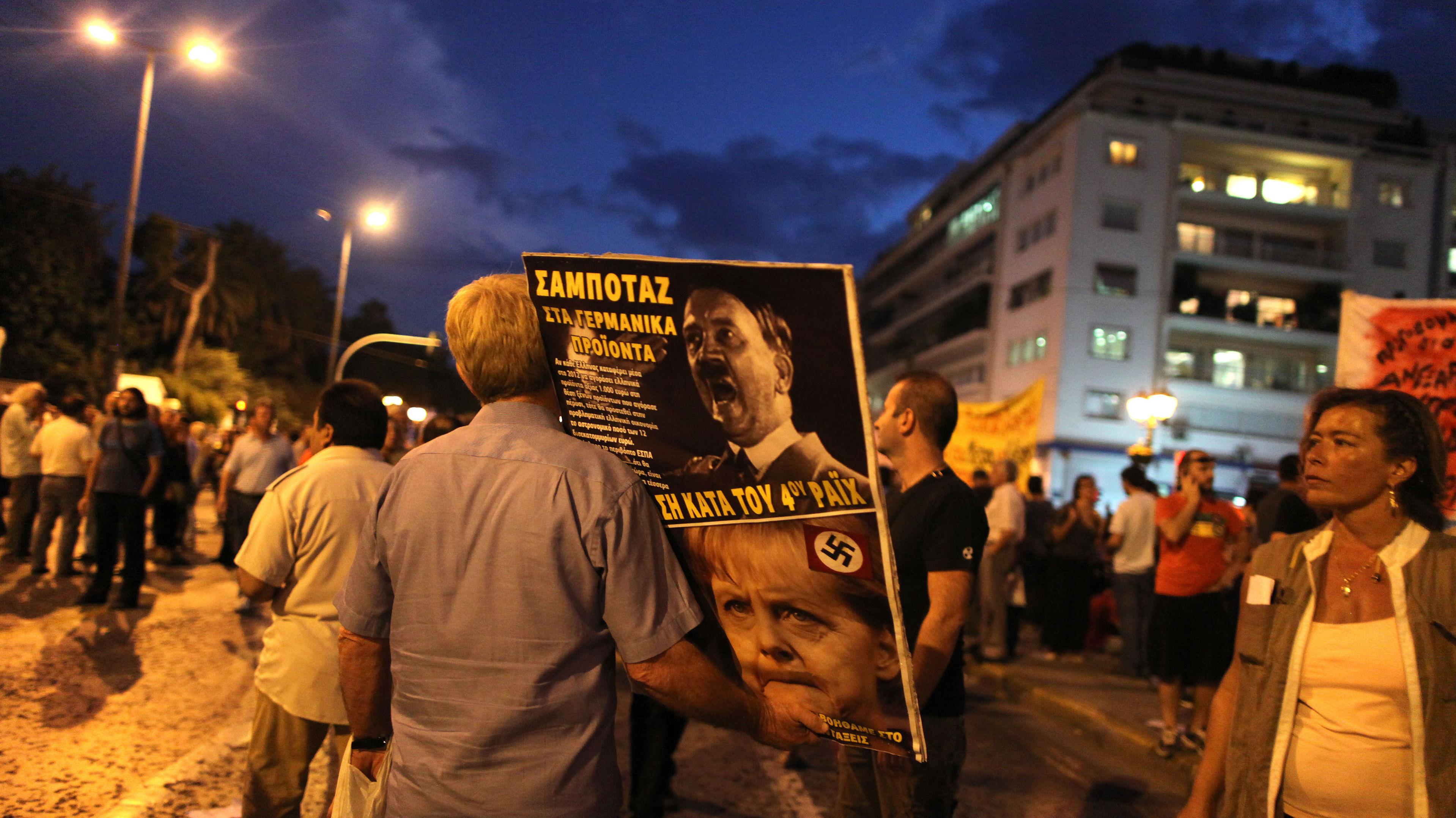 Greek Protest before Angela Merkel's visit