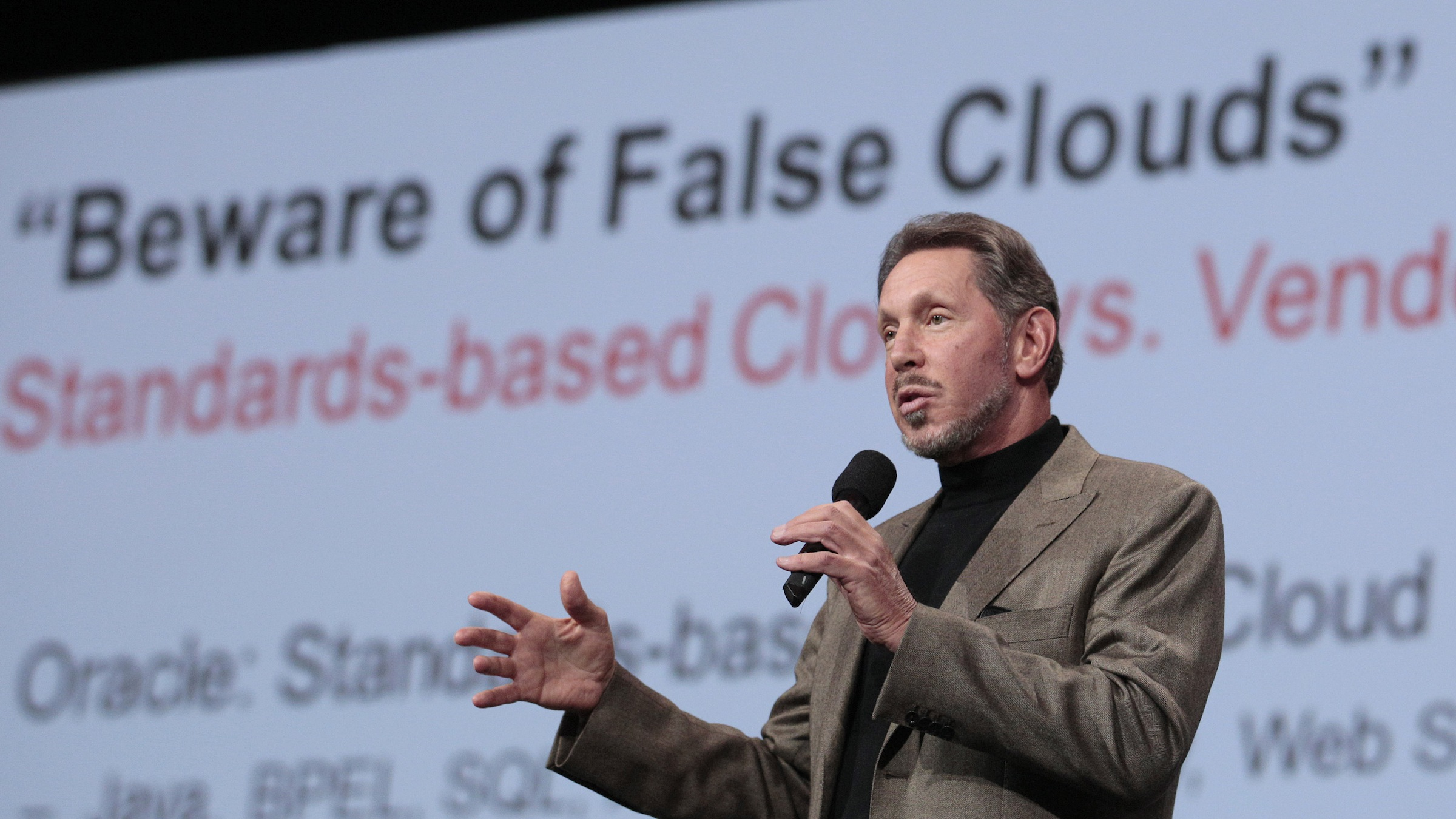 speaks during the Oracle OpenWorld Keynote in San Francisco, Wednesday, Oct. 5, 2011. (AP Photo/Jeff Chiu)