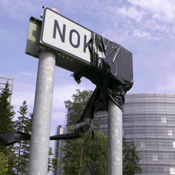 A partially covered sign at Nokia's headquarters in Espoo, Finland.