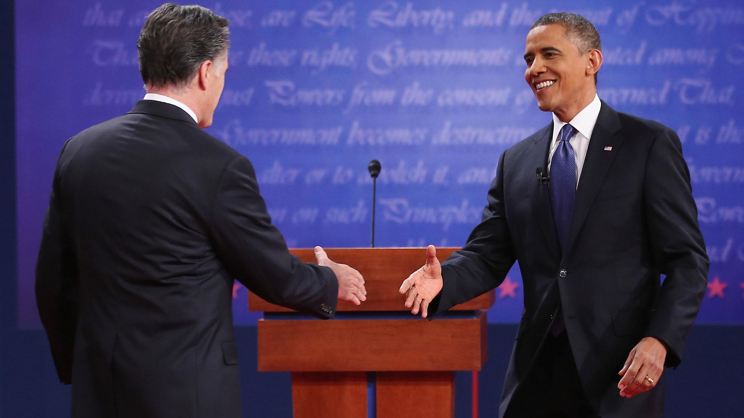 Obama Romney Hand Shake 10262012