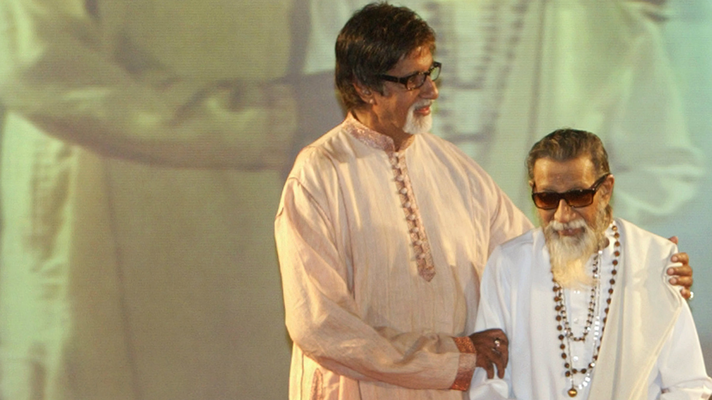 Bollywood superstar Amitabh Bachchan (pictured left) and right-wing politician Bal Thackeray had a close relationship.