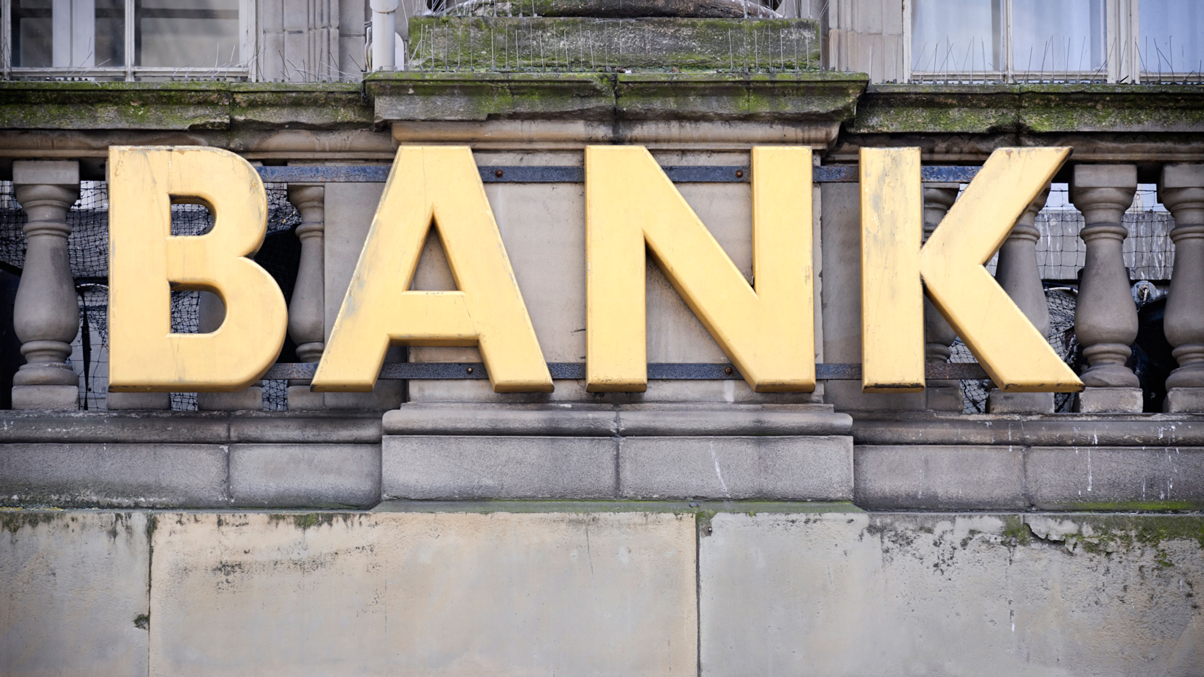 Bank Sign in Gold