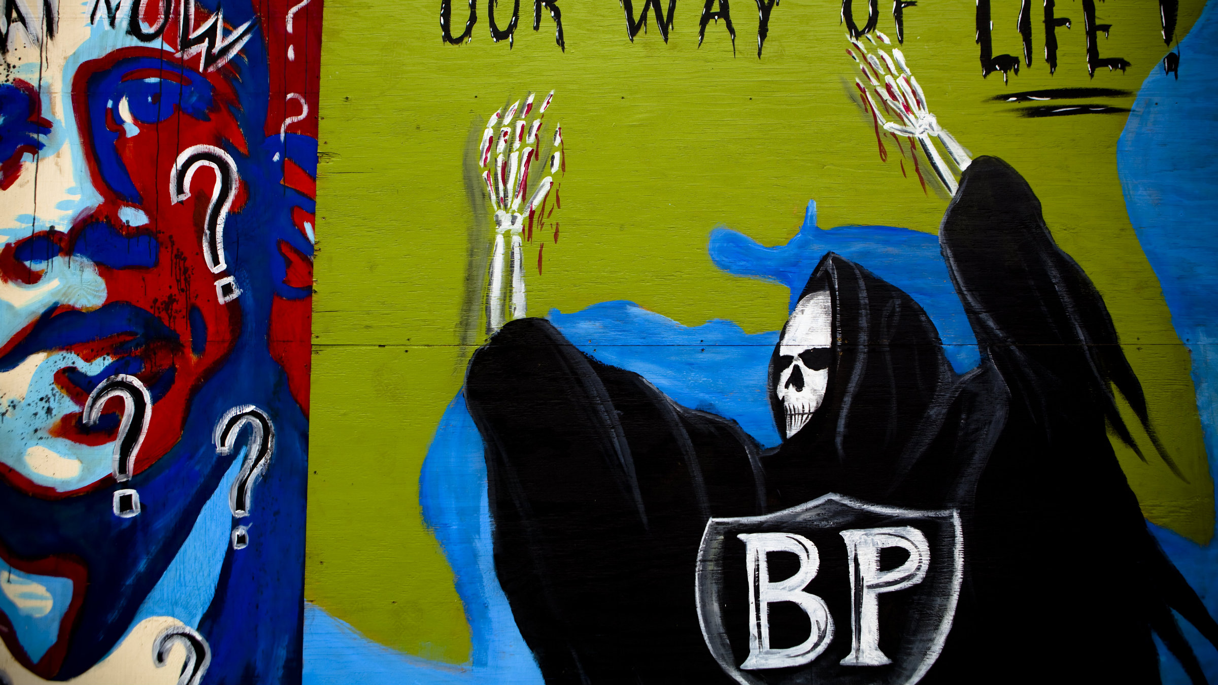 A mural in the Louisiana area near the Deepwater Horizon disaster and the British Petroleum oil spill off the Gulf Coast in July 2010.