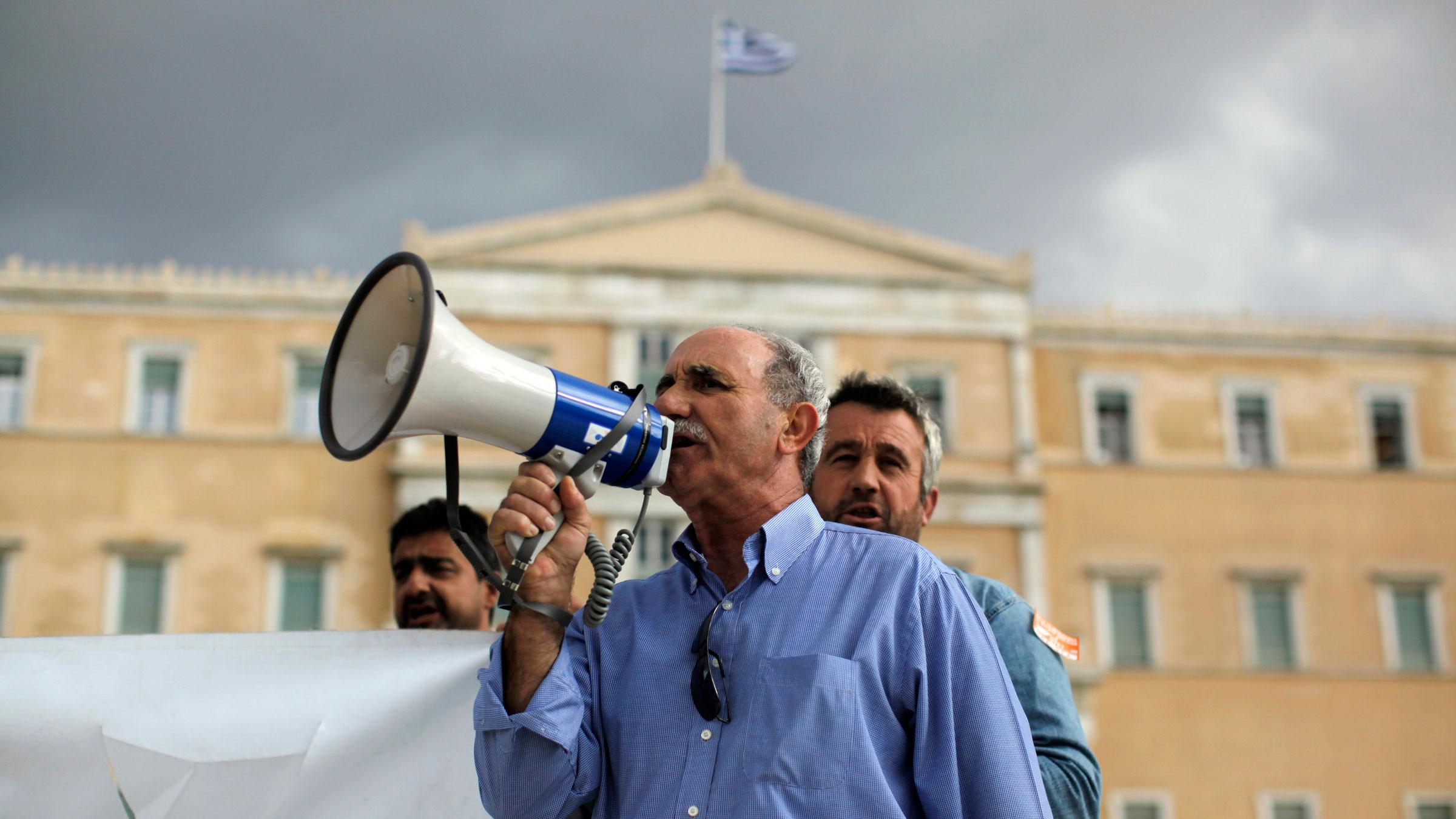 Greek protester bullhorn