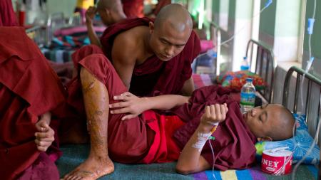 Injured monk in Myanmar