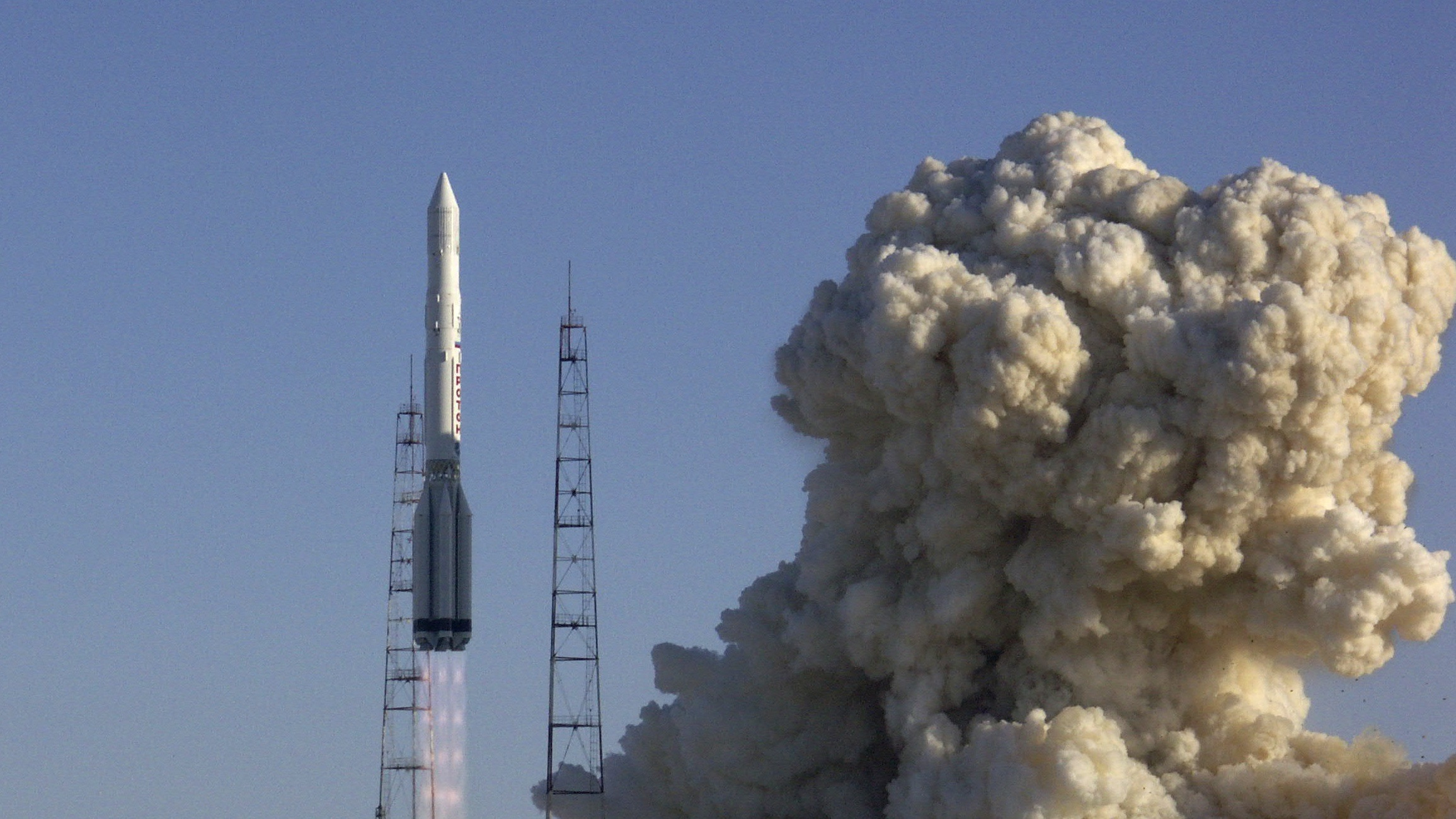 Russian Proton-K rocket carrying a Russian military satellite blasts off from the Baikonur cosmodrome in Kazakhstan, Saturday, Feb. 28, 2009. The military-purpose satellite launched from Baikonur on Saturday has been put into a planned orbit. (AP Photo)
