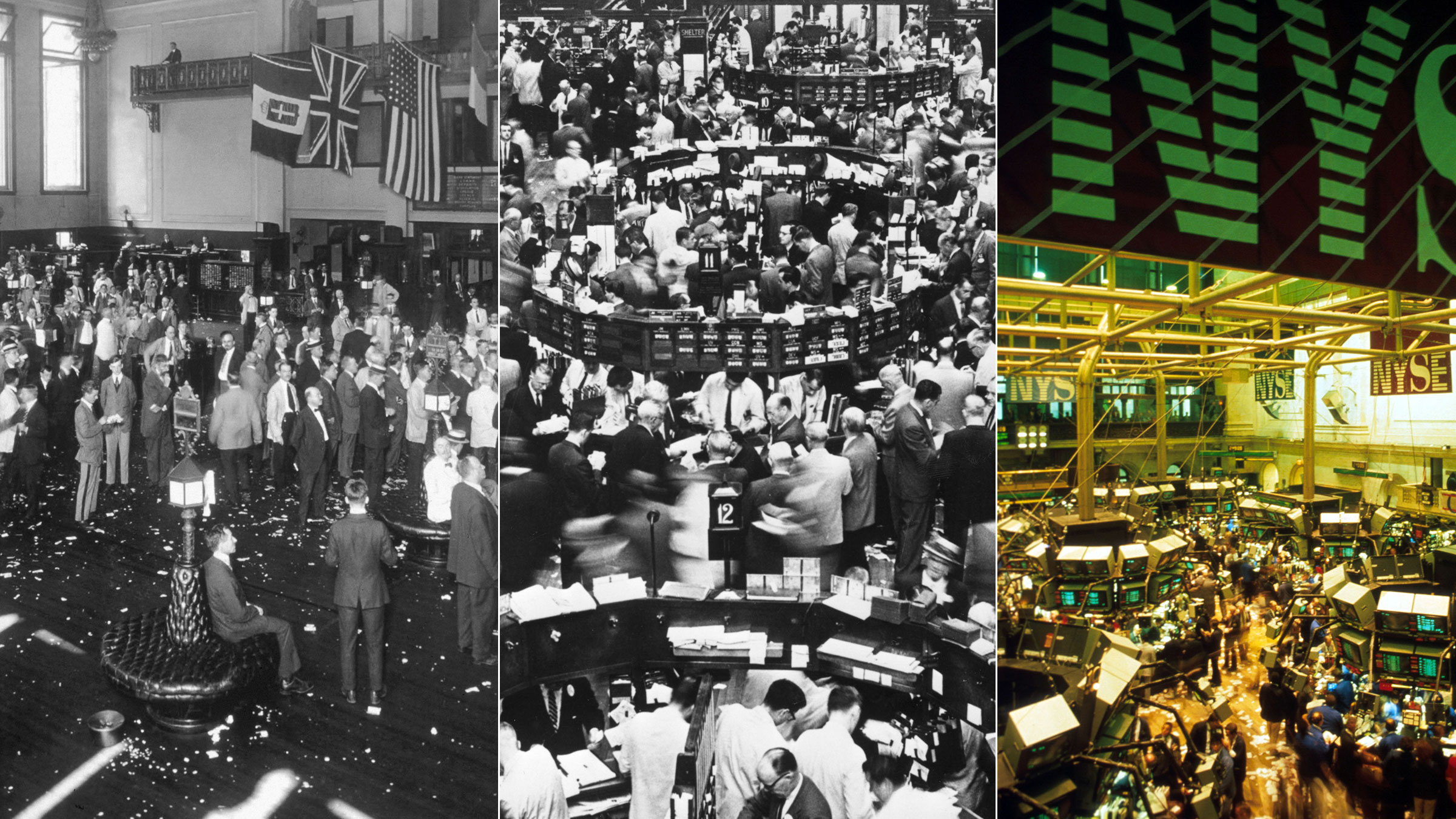 High-frequency trading is just part of the evolution of the market. Here the New York Stock Exchange in 1918, 1962 and 1987.