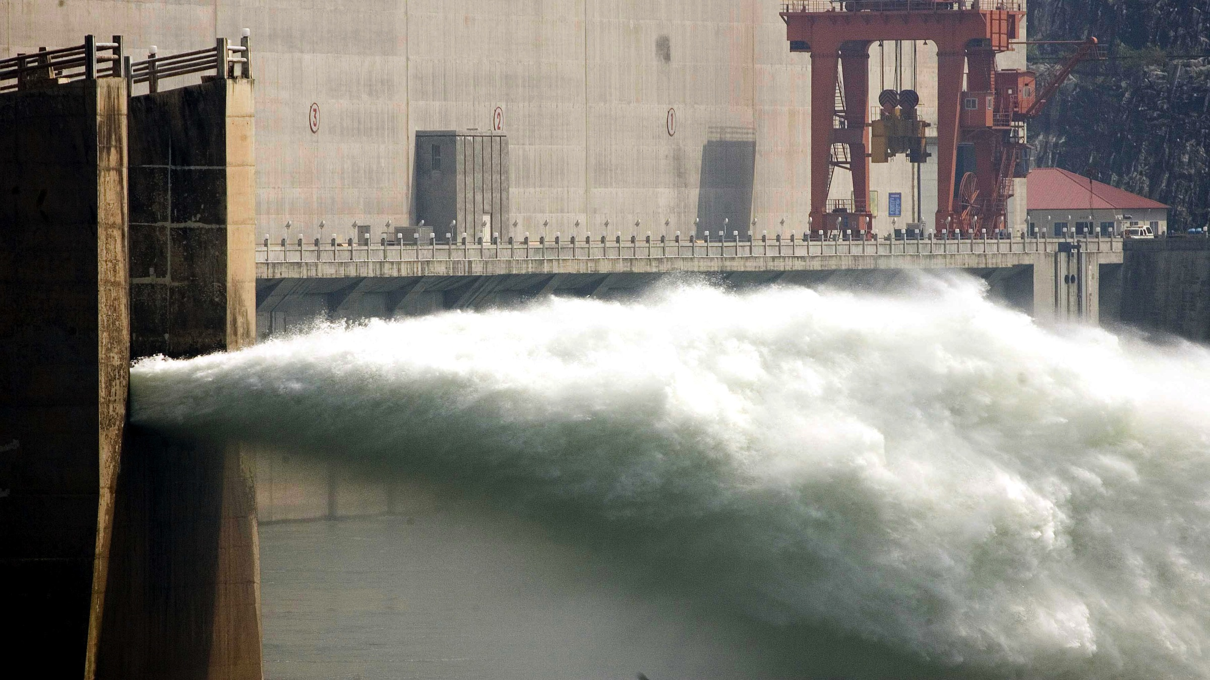 Water being released from the Three Gorges Dam in China