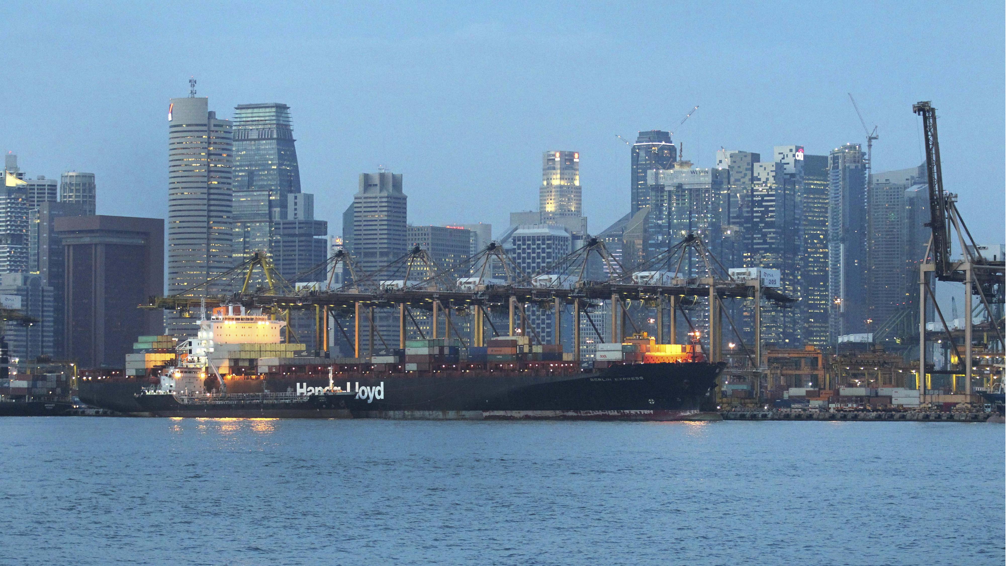 Cargo ship in Singapore