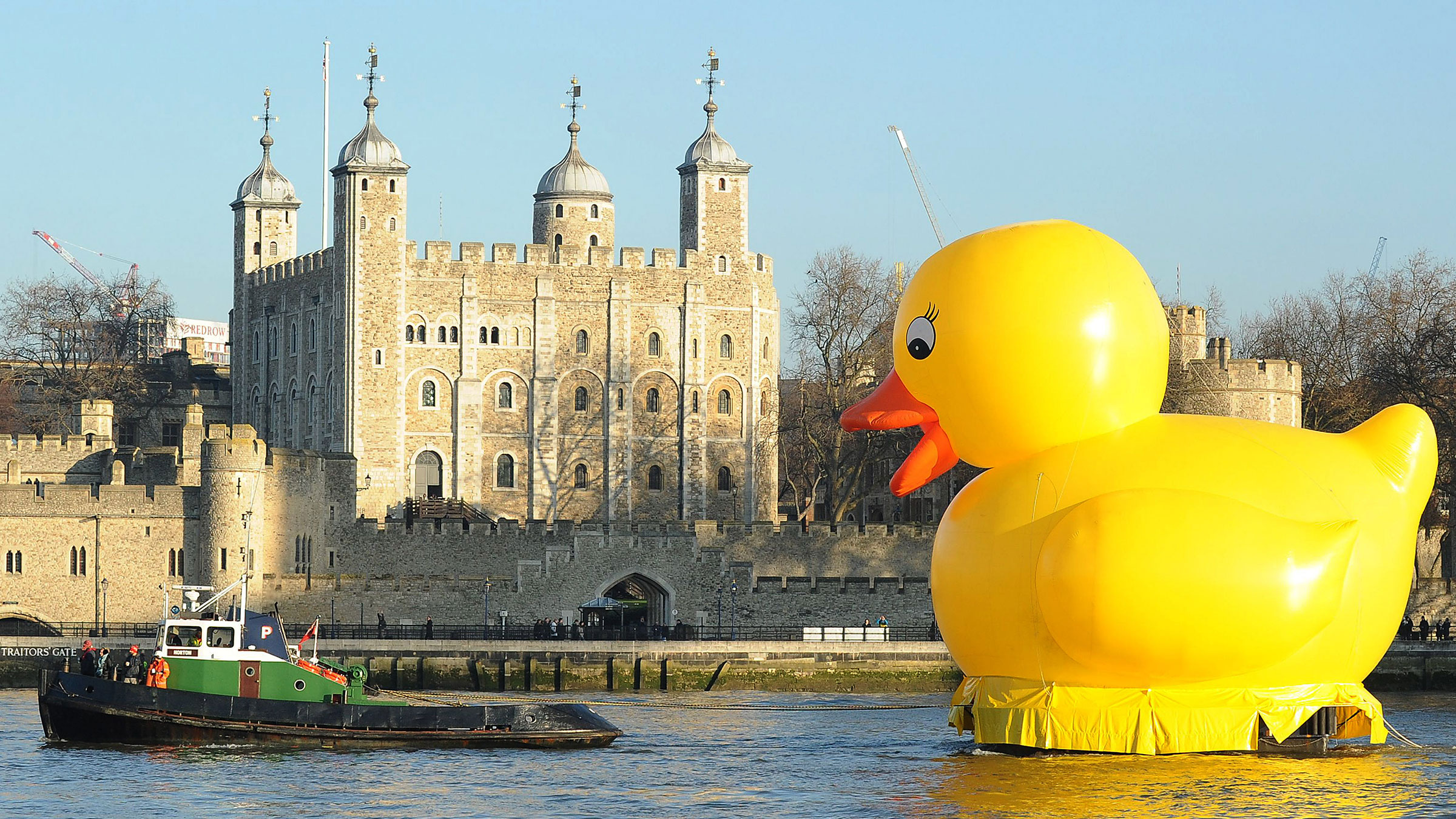 Giant yellow duck on the Thames River