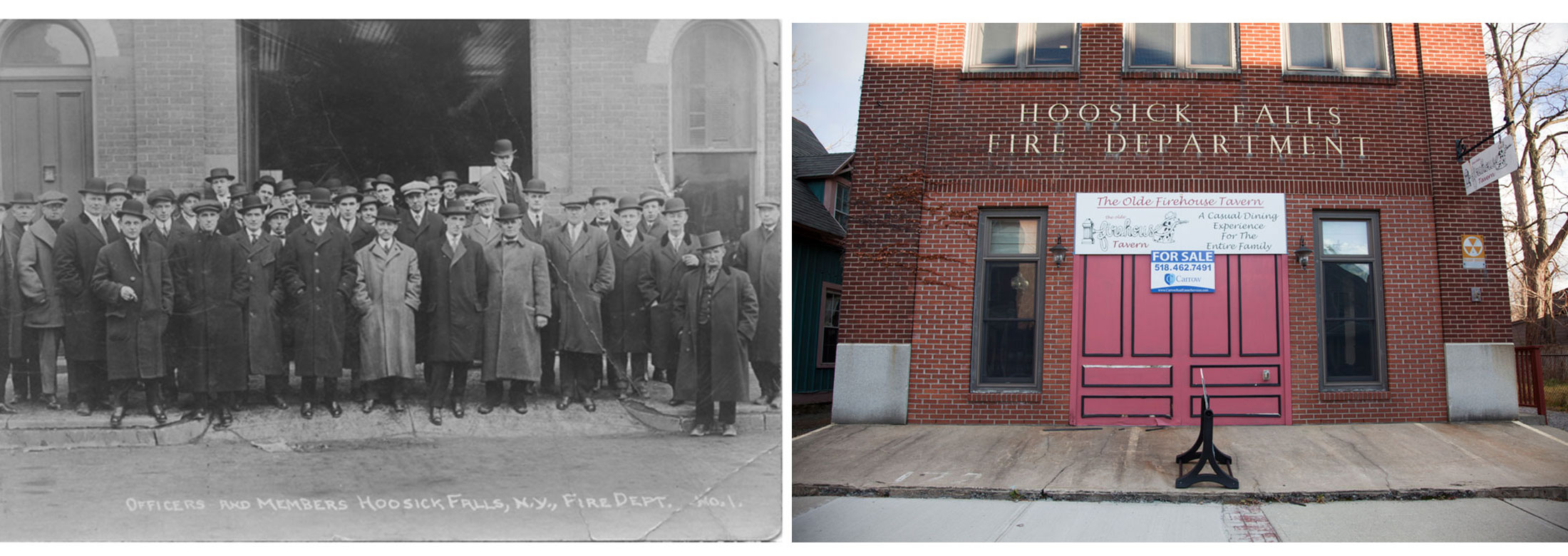 The Hoosick Falls Fire Department in the early 1900's. It was transformed into a restaurant that went quickly out of business and is now for sale.