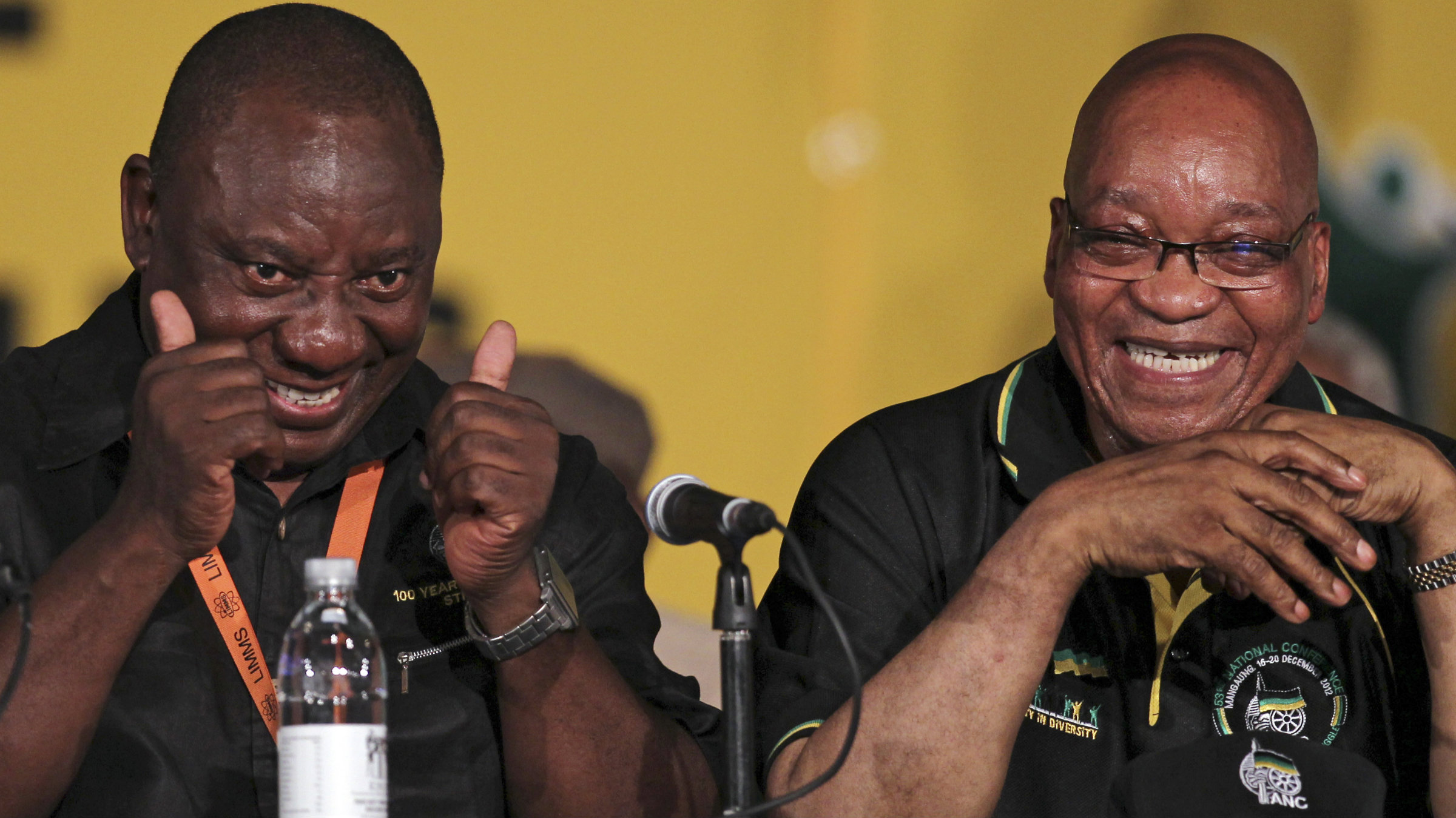 Cyril Ramaphosa, left, with South African President Jacob Zuma. Critics say he should have better supported miners during a violent, deadly strike earlier this year.