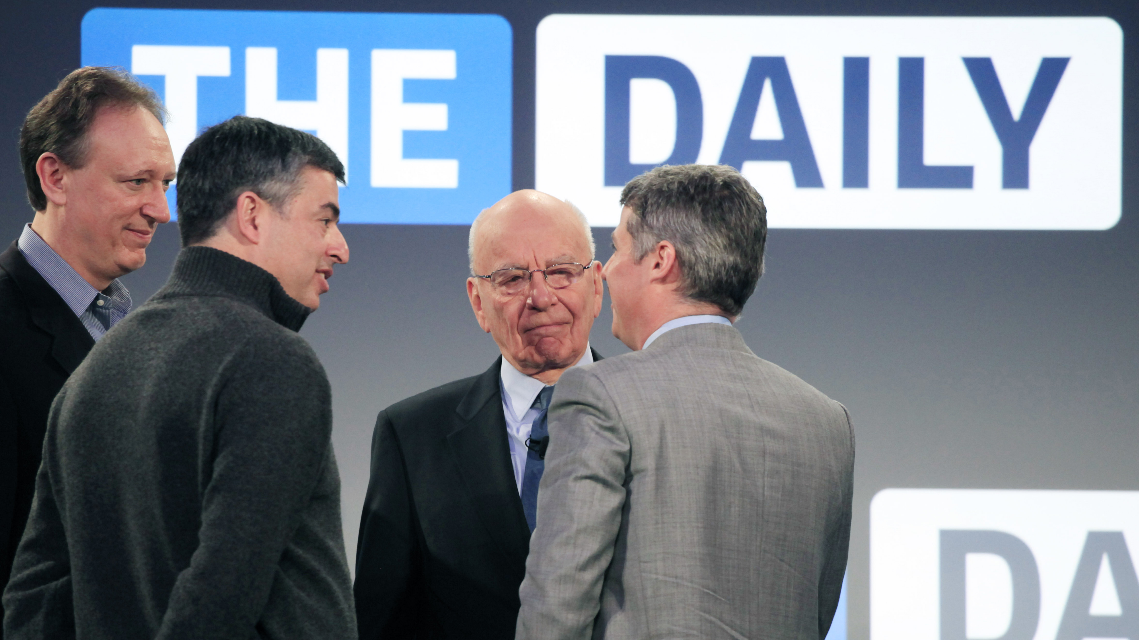 In better days: former News Corp. CDO Jon Miller, Apple SVP Eddy Cue, News Corp. CEO Rupert Murdoch, and The Daily editor-in-chief Jesse Angelo