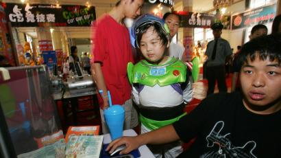 Chinese child dressed as Buzz Lightyear