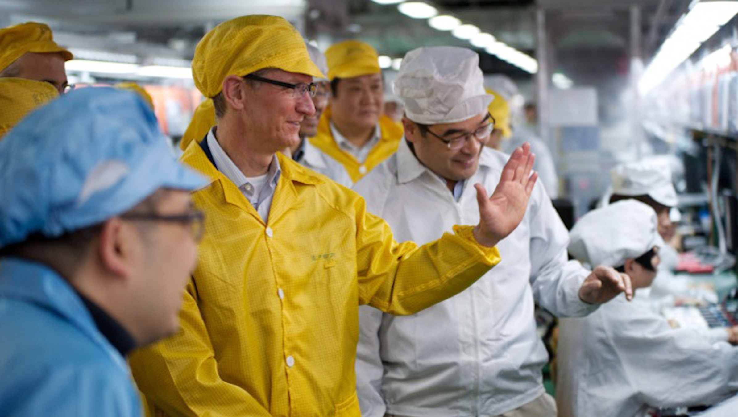 Apple CEO Tim Cook at Foxconn