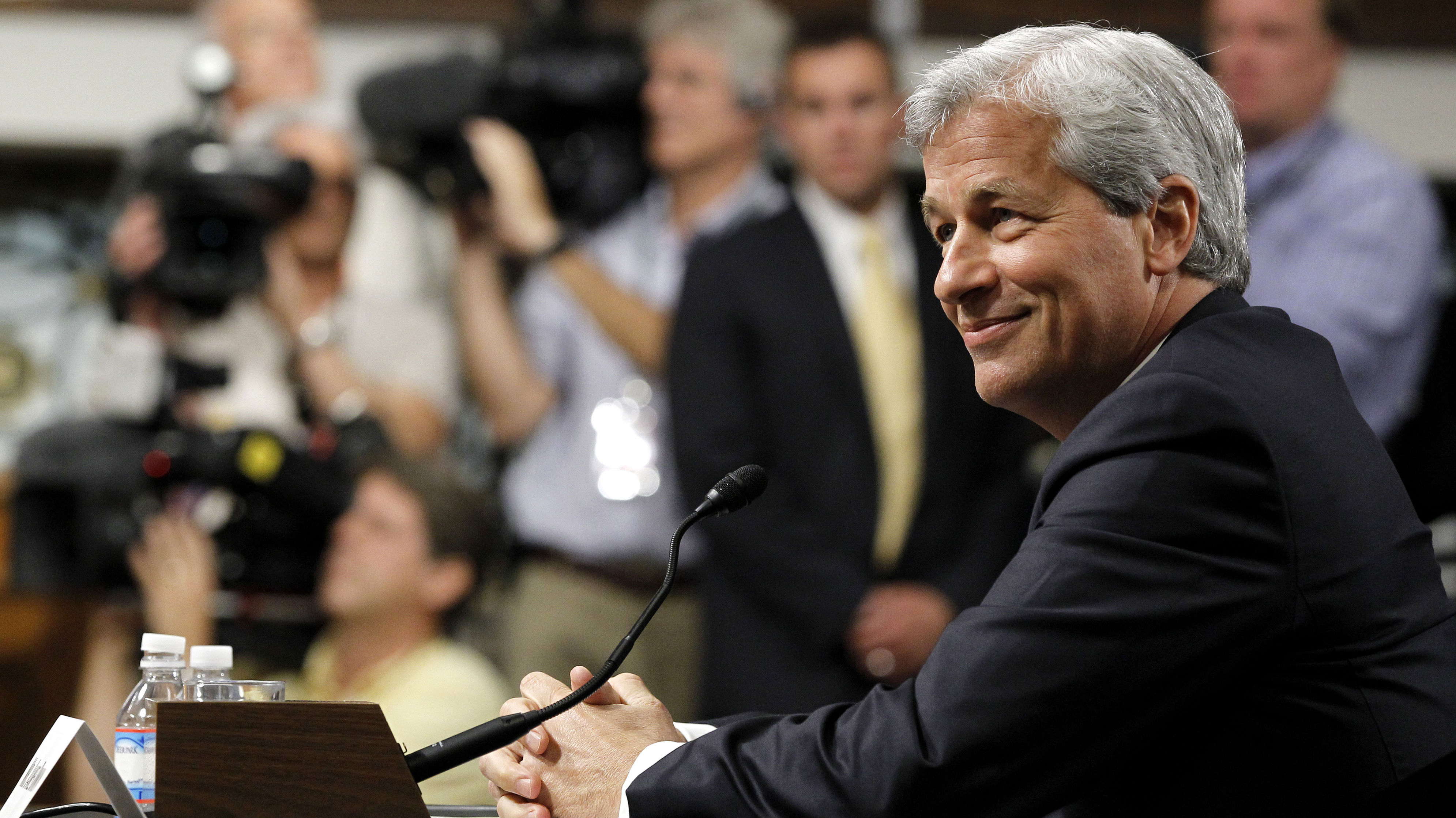 JPMorgan Chase CEO Jamie Dimon, head of the largest bank in the US, prepares to testify on Capitol Hill in Washington, Wednesday, June 13, 2012, before the Senate Banking Committee about how his company recently lost more than $2 billion on risky trades and whether its executives failed to properly manage those risks. (AP Photo/Haraz N. Ghanbari)