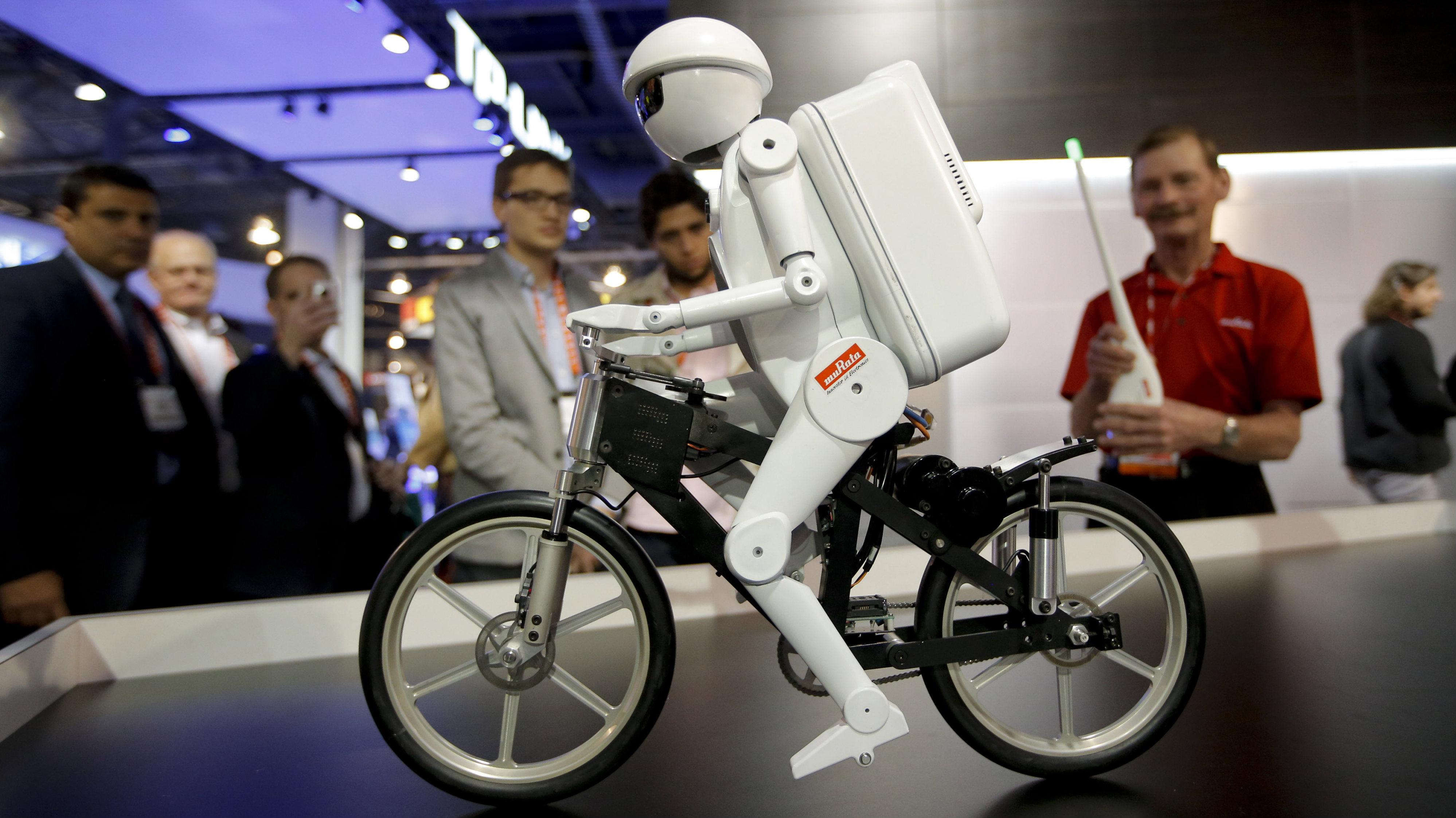 robot riding bicycle