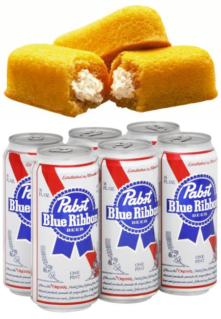 Pabst Blue Ribbon and Twinkies