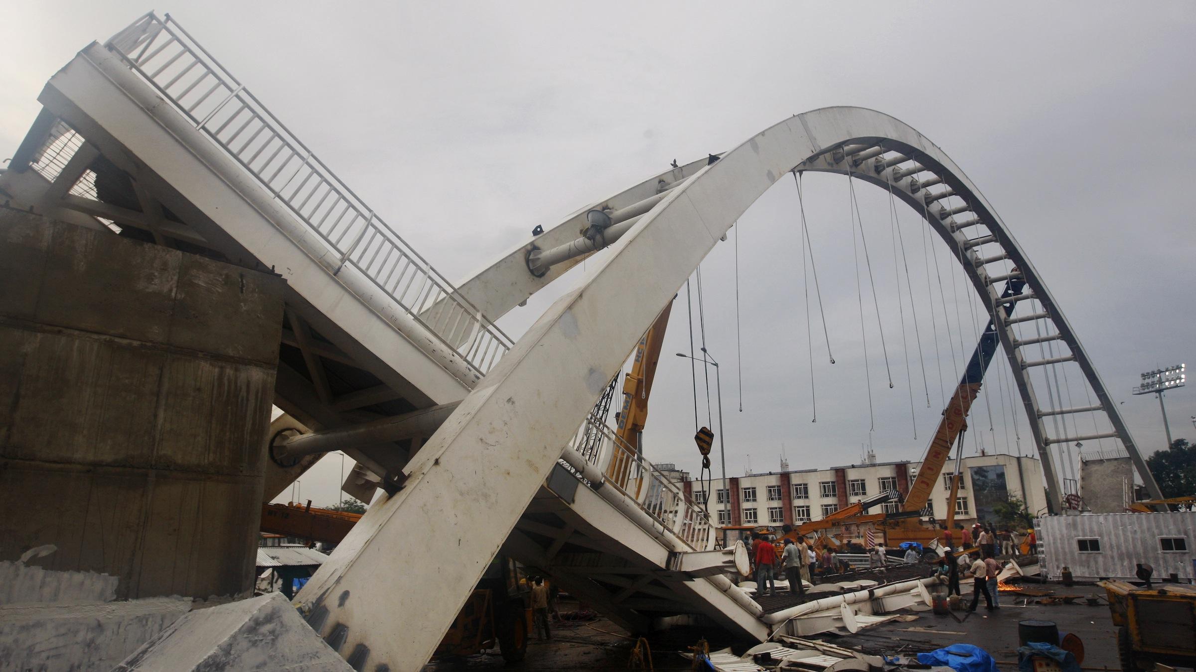 Collapsed bridge in New Delhi