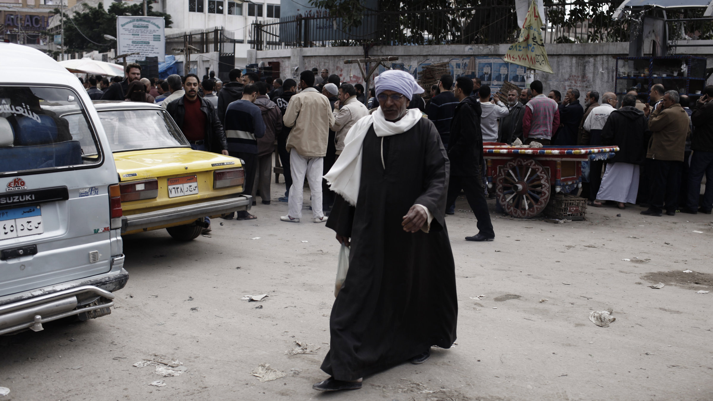 A man votes for Egypt's draft constitution on Dec. 15.
