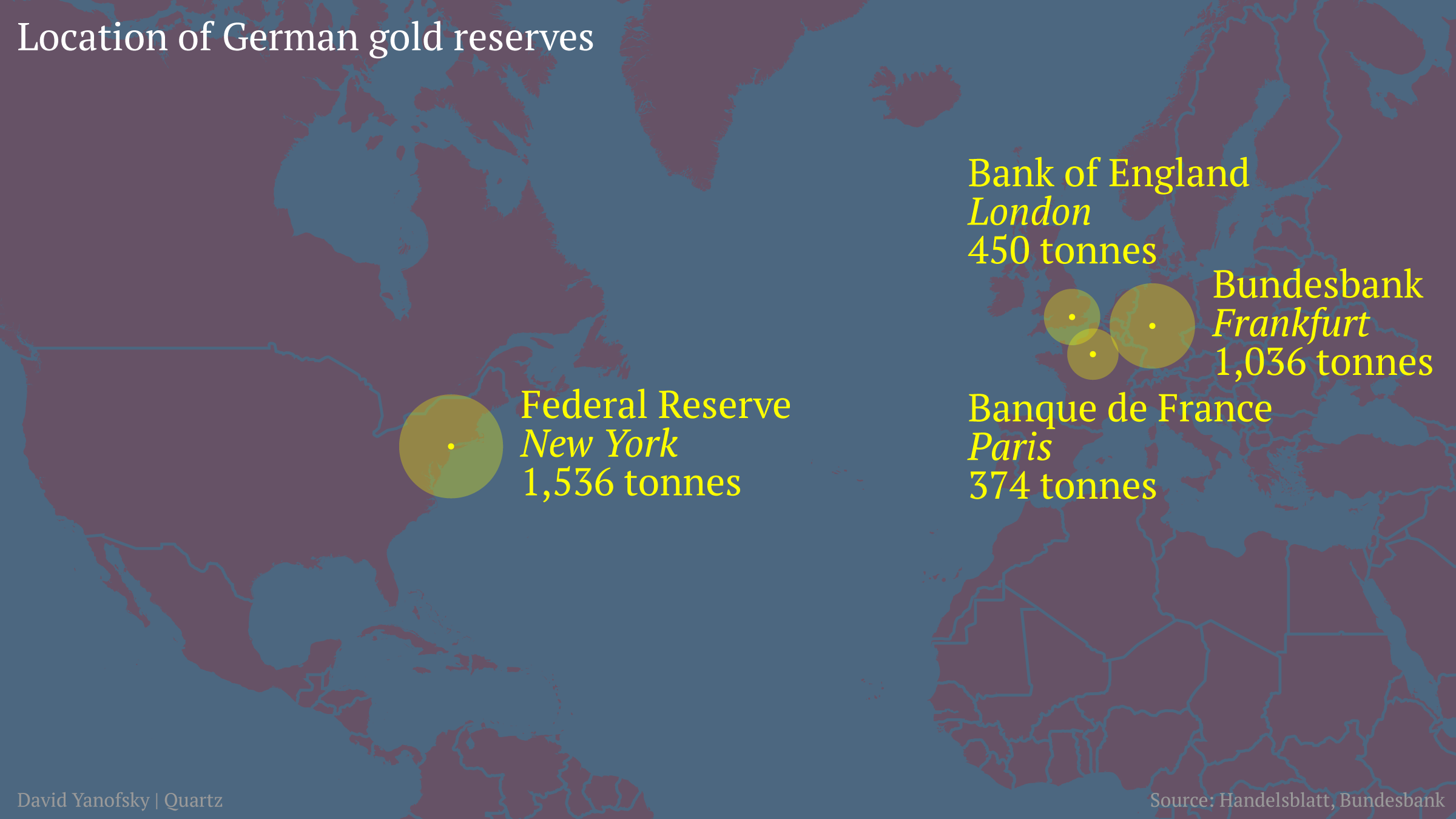 Map of German gold reserves
