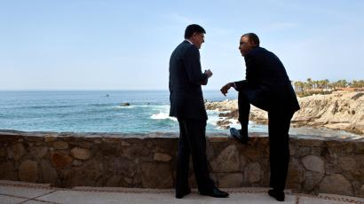 President Barack Obama talks with Chief of Staff Jack Lew at the Esperanza Resort in San Jose Del Cabo, Mexico, in advance of a bilateral meeting with President Vladimir Putin of Russia, June 18, 2012.