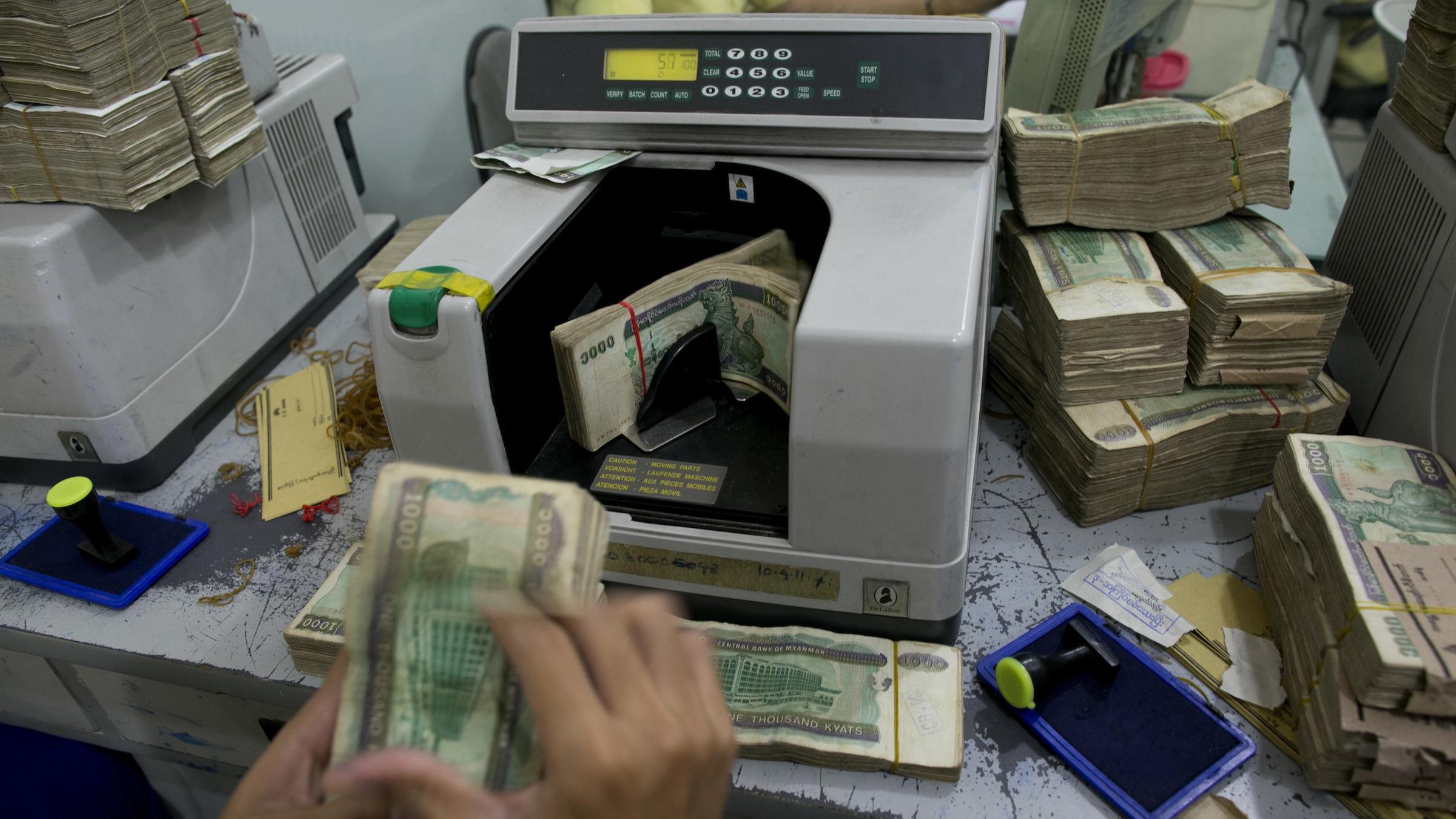 Bank teller in Myanmar