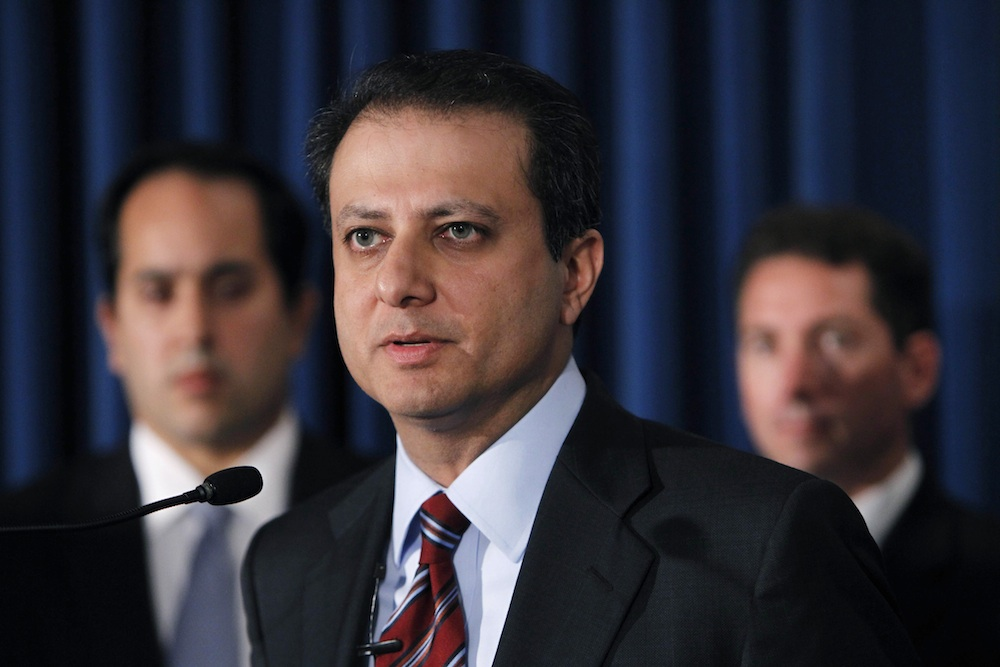 United States Attorney for the Southern District of New York Preet Bharara talks to the media about charges being brought against participants in a stock fraud scheme and other charges being brought against participants in a cocaine trafficking scheme in New York, Tuesday, Oct. 5, 2010.  (AP Photo/Seth Wenig)