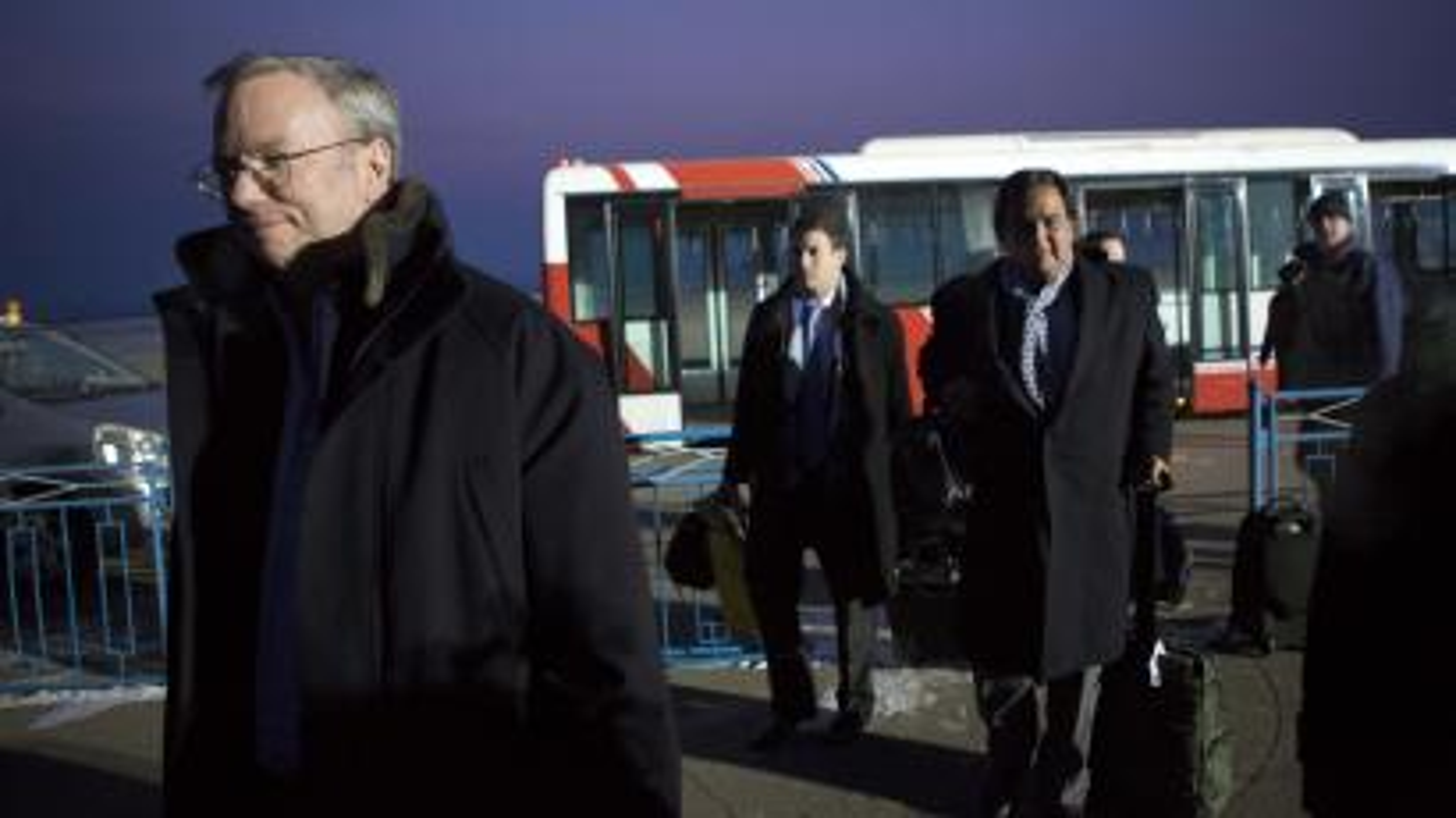 Schmidt and Richardson arrive at Pyongyang International Airport