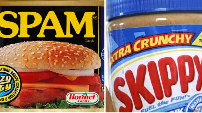 This combination of Associated Press file photos shows a can of Spam in Philadelphia on Aug. 16, 2010, left, and a 16.3 ounce jar of Skippy peanut butter in Somerville, Mass. on Aug. 26, 2008. Hormel Foods, the company primarily known for Spam and other cured, smoked and deli meats said Thursday, Jan. 3, 2013, that it's buying Skippy, the country's No. 2 peanut butter brand, in its biggest-ever acquisition.