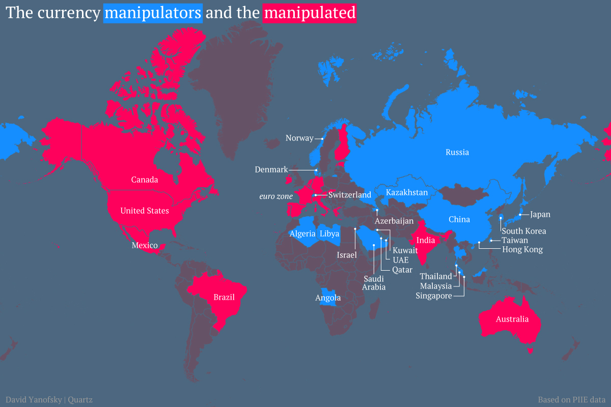 Map of currency manipulators and currency manipulateds