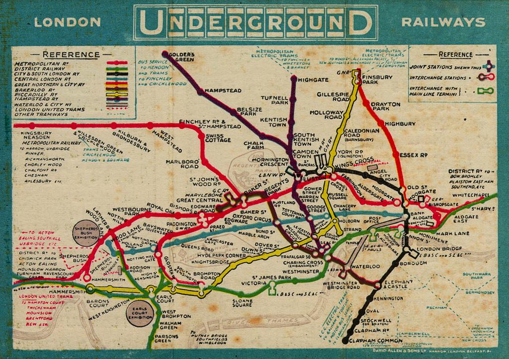 1910 london tube map
