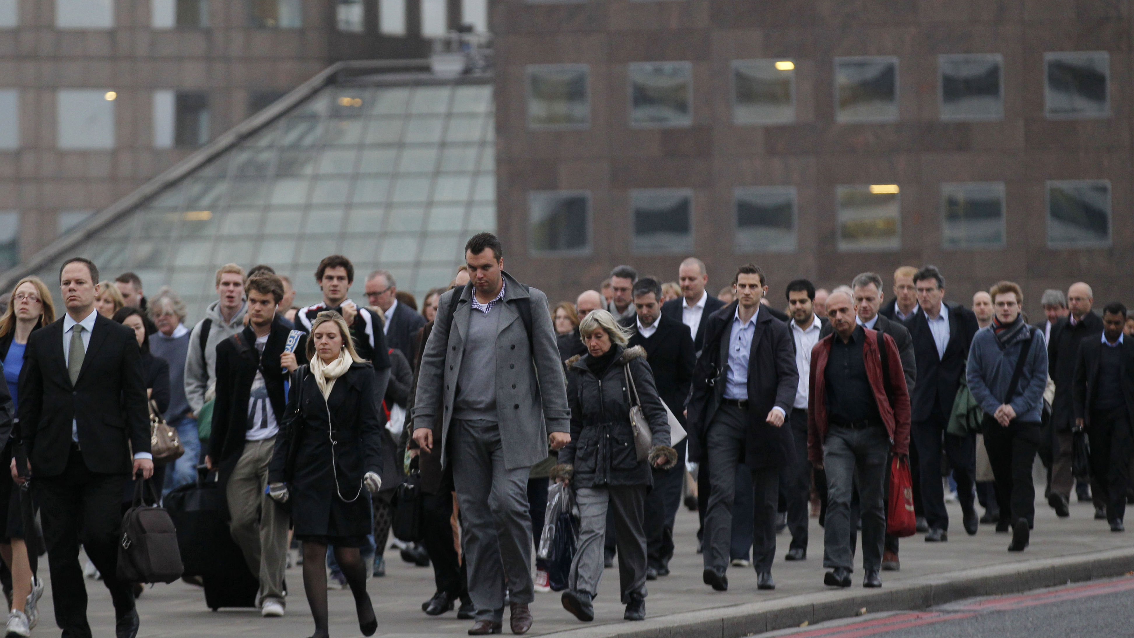 Employees walking to work in the UK