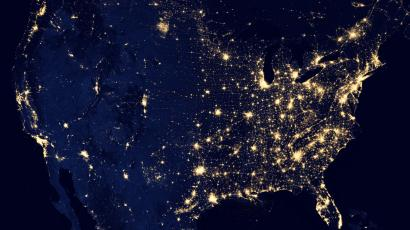 The United States, seen from space, at night.