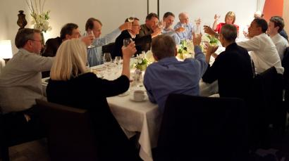 Barack Obama joins a toast with technology business leaders