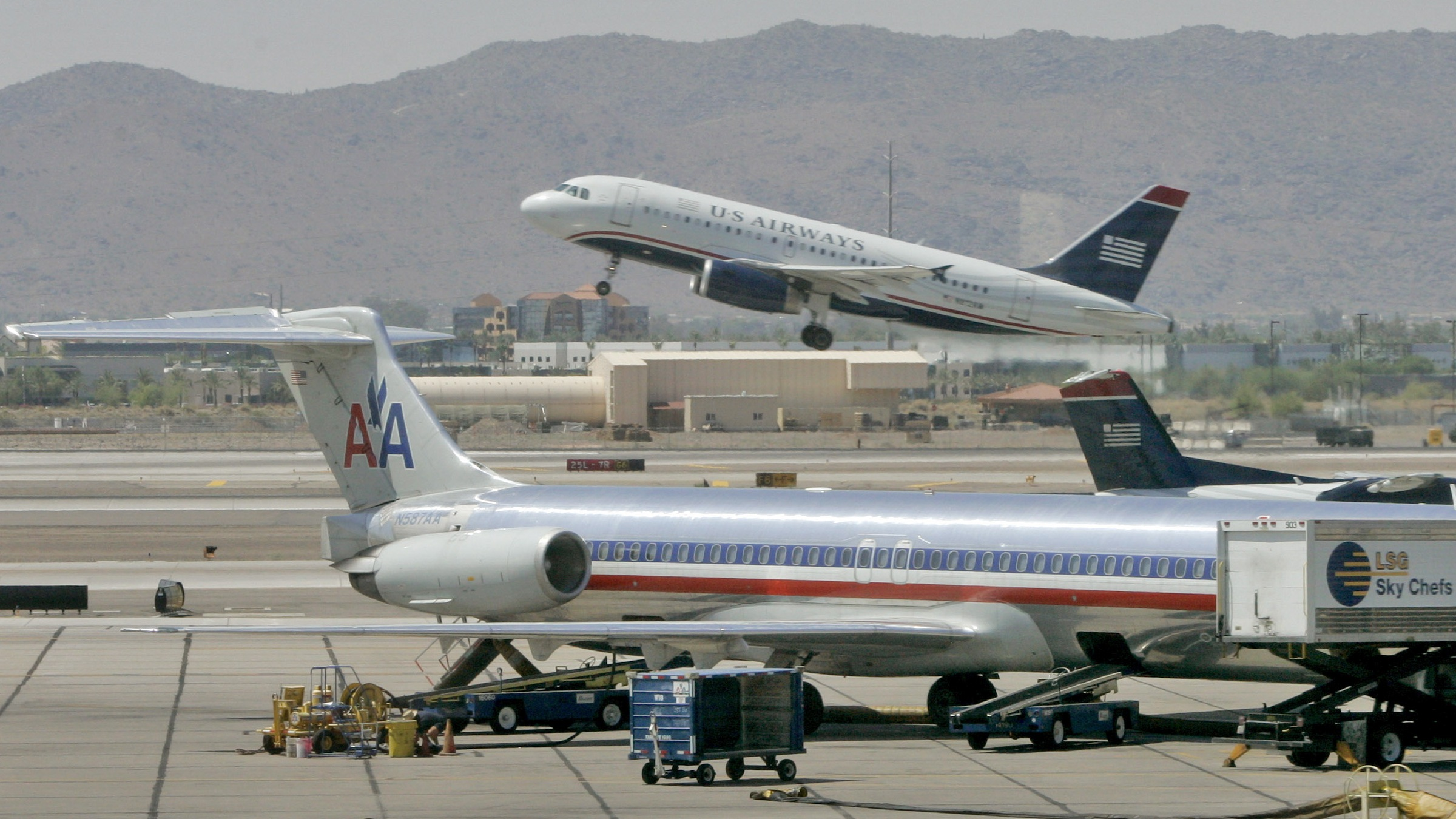 American Airlines and US Airways jets
