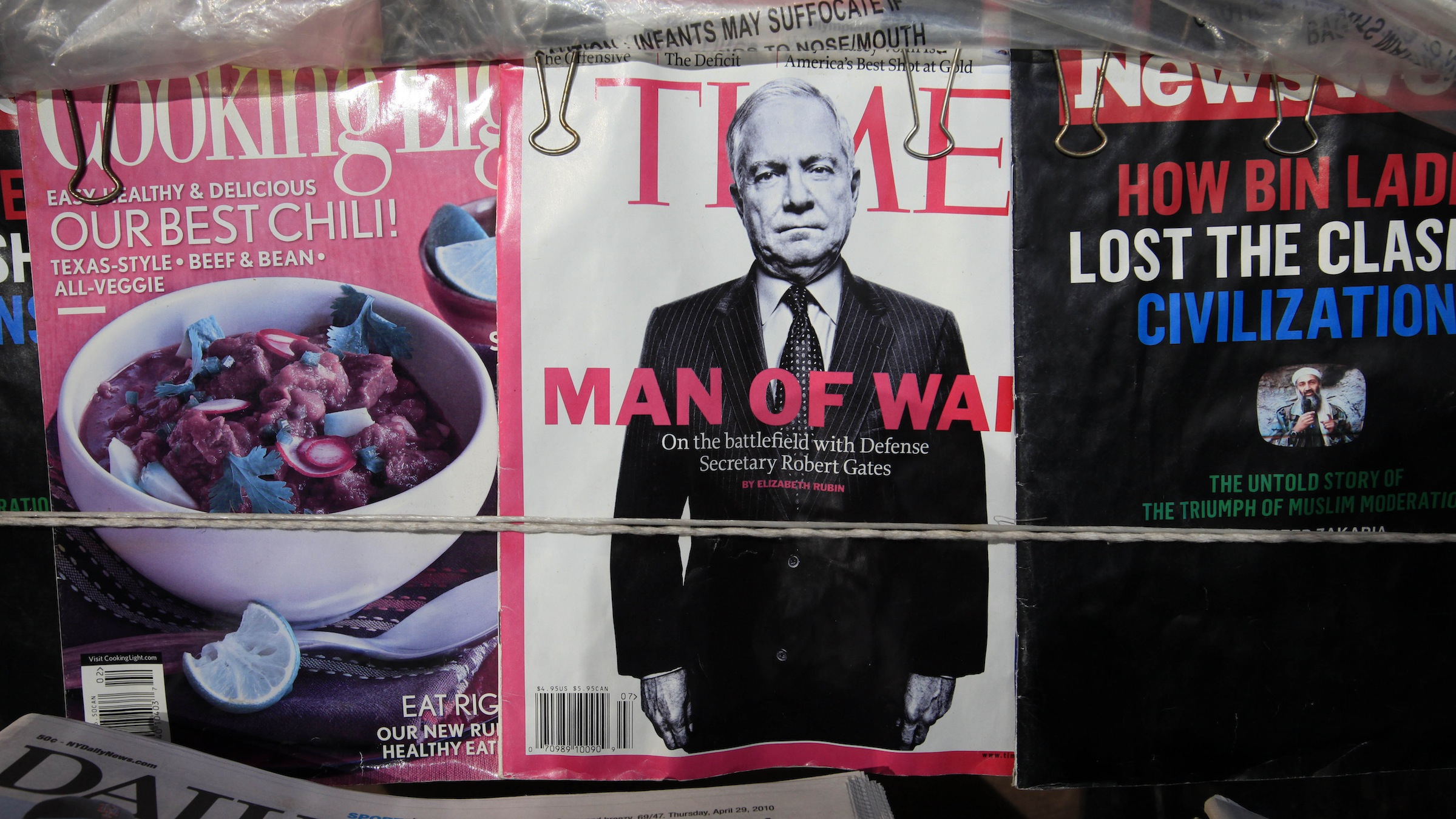 An issue of Time Magazine is shown on a newsstand, Thursday, April 29, 2010 in New York. Time Inc. is a division of Time Warner. (AP Photo/Mark Lennihan)
