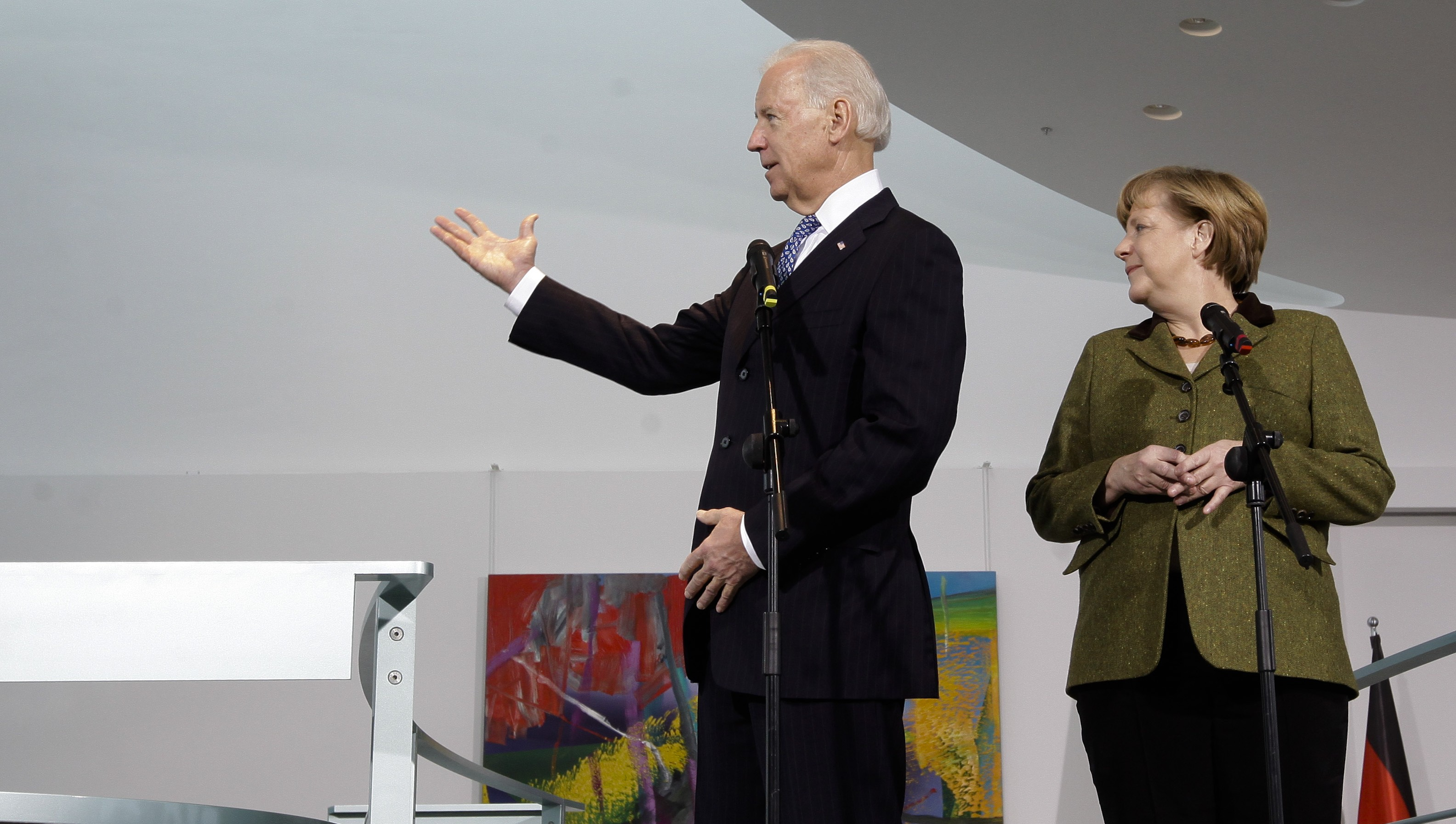 German Chancellor Angela Merkel and United States Vice President Joe Biden brief the media prior to a meeting at the chancellery in Berlin, Friday, Feb. 1, 2013. (AP Photo/Markus Schreiber)