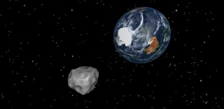 Artist's impression of asteroid 2012 DA14 approaching Earth.