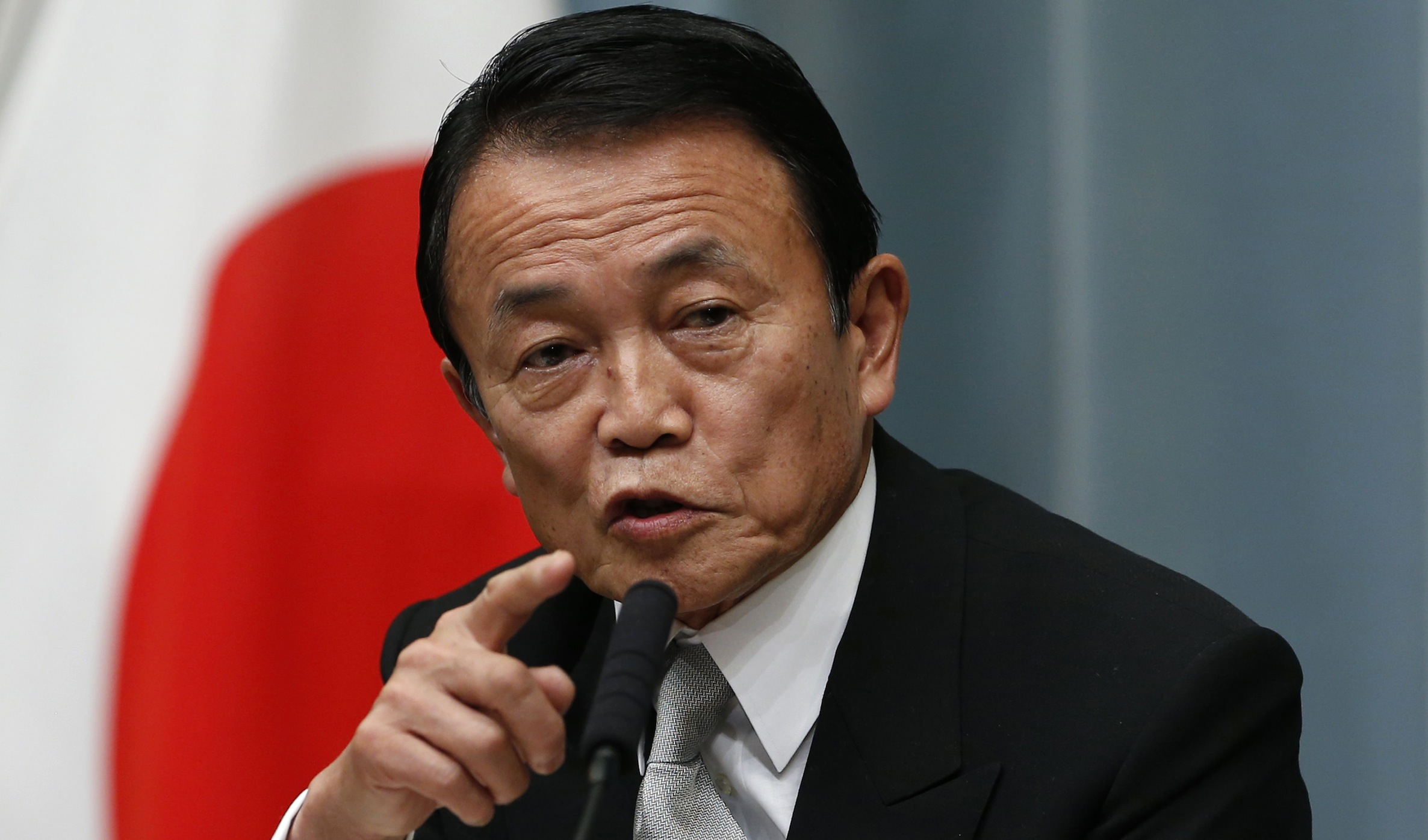 Taro Aso speaks at the prime minister's official residence in Tokyo, Wednesday, Dec. 26, 2012.