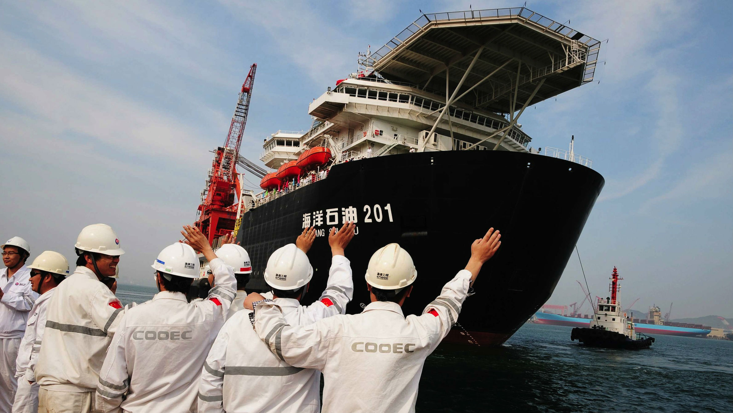The Haiyangshiyou 201, operated by China Offshore Oil Engineering Corporation, is used on CNOOC's deep-water pipe laying operation in the South China Sea.