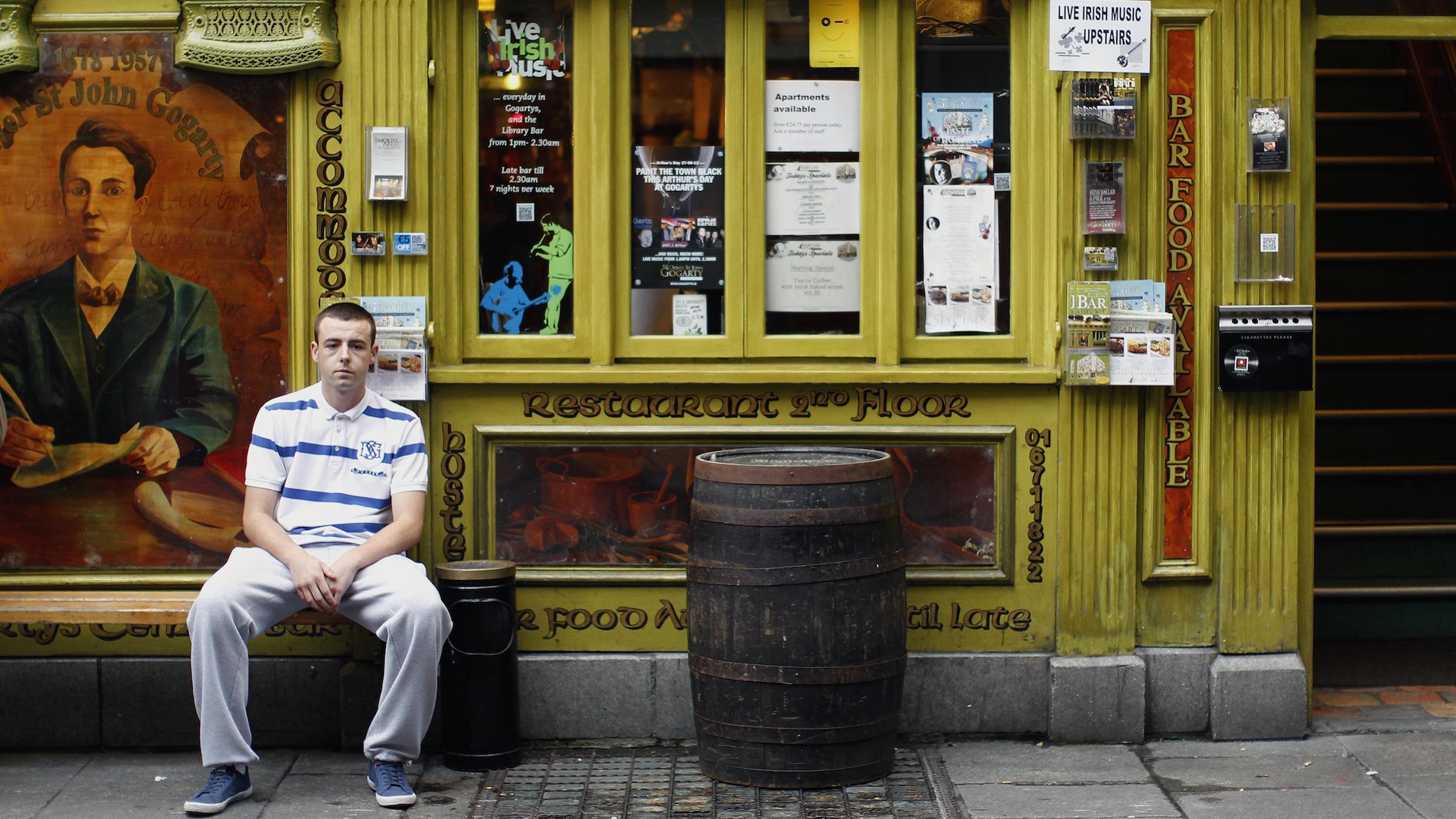 A man outside a pub in Dublin