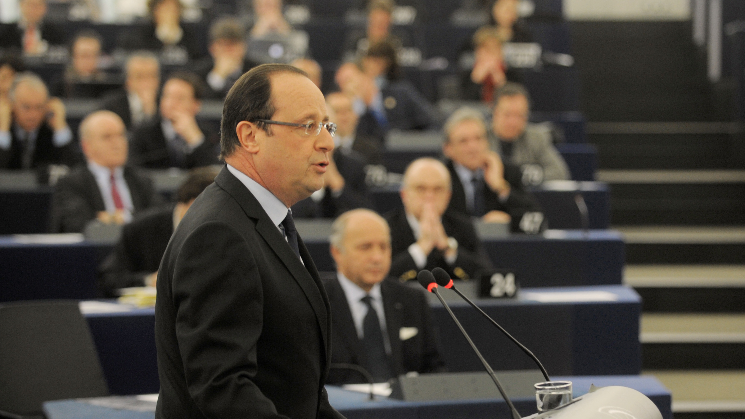 French president Francois Hollande delivers his speech at the European Parliament Tuesday, Feb. 5, 2013, in Strasbourg, eastern France. Hollande warns of a tough European Union summit later this week if countries including Britain continue to demand drastic cuts to the EU budget while refusing to make concessions themselves.