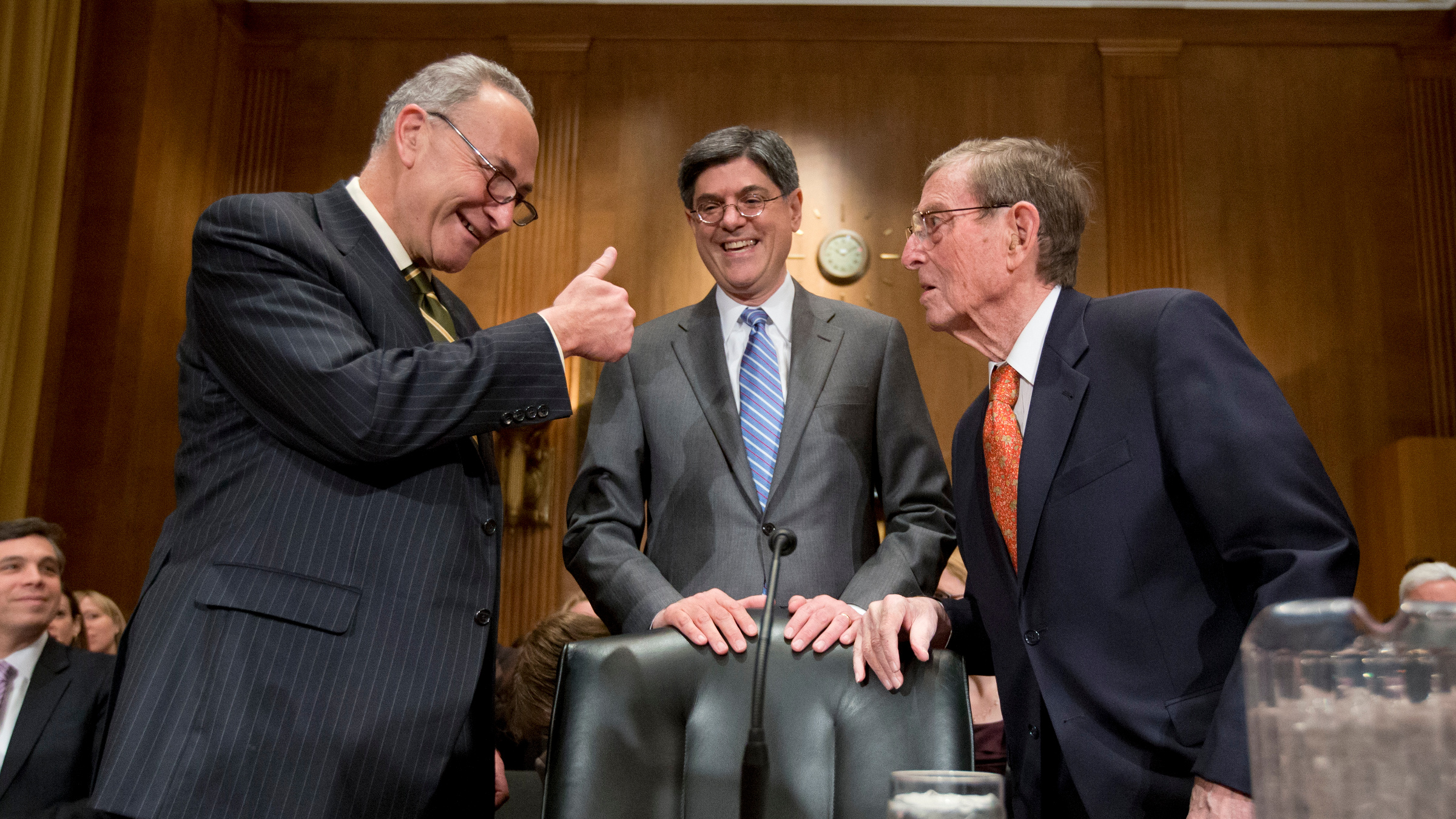 Jack Lew President Barack Obama's choice to be treasury secretary, center, talks with Sen. Charles Schumer, D-N.Y., left, and former New Mexico Sen. Pete Domenici, on Capitol Hill in Washington.