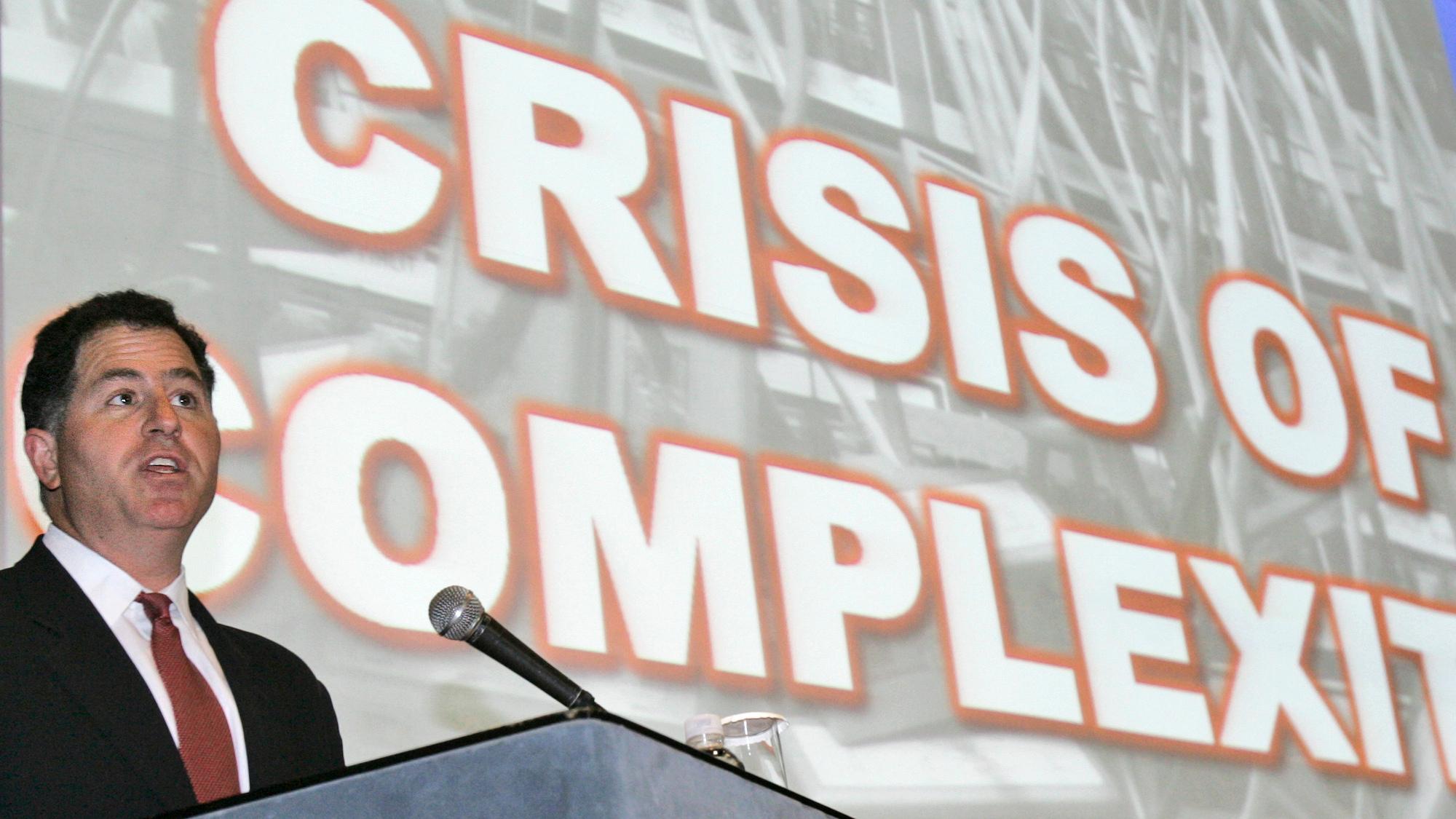 Michael Dell speaks to the press in Seoul, Korea in 2008.
