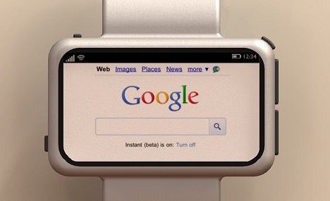 Neptune smartwatch web browser showing Google homepage